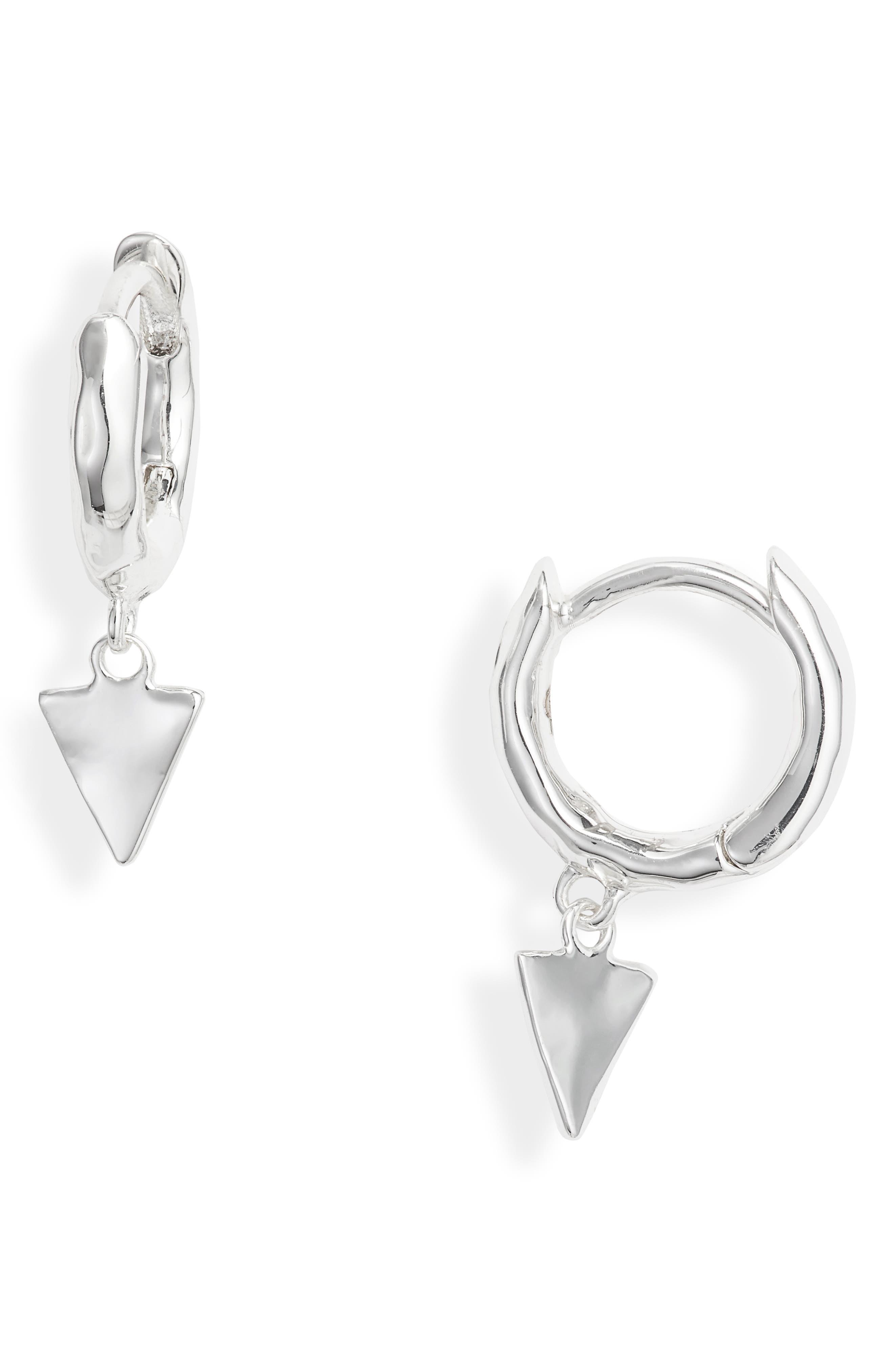 Luca Triangle Huggie Hoop Earrings,                             Main thumbnail 1, color,                             SILVER