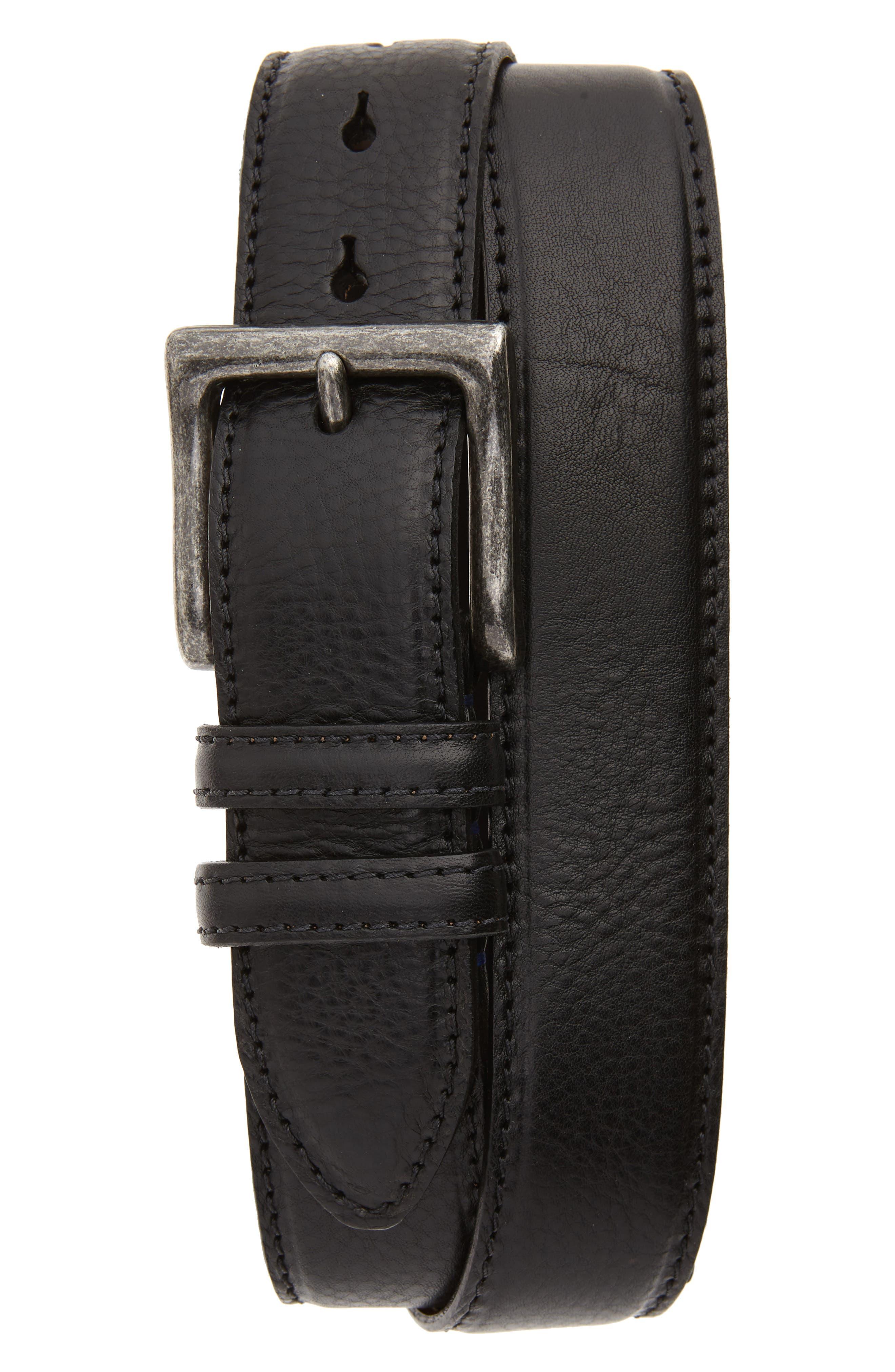 Torino Calfskin Leather Belt, Black
