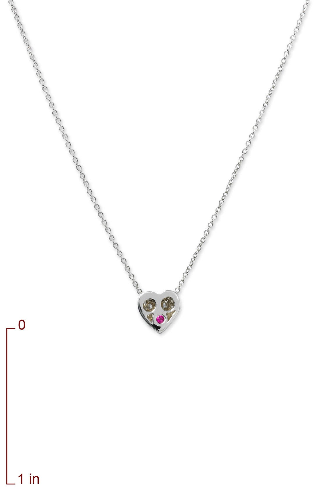 'Tiny Treasures' Diamond Puffed Heart Pendant Necklace,                             Alternate thumbnail 3, color,                             041