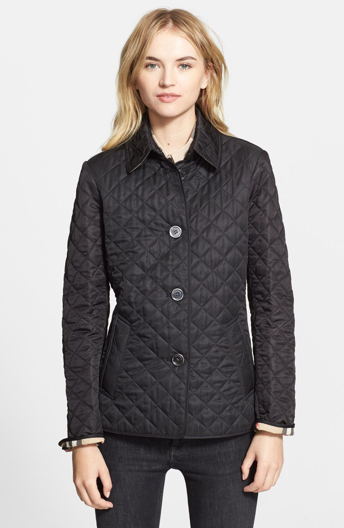 'Copford' Quilted Jacket, Main, color, 001