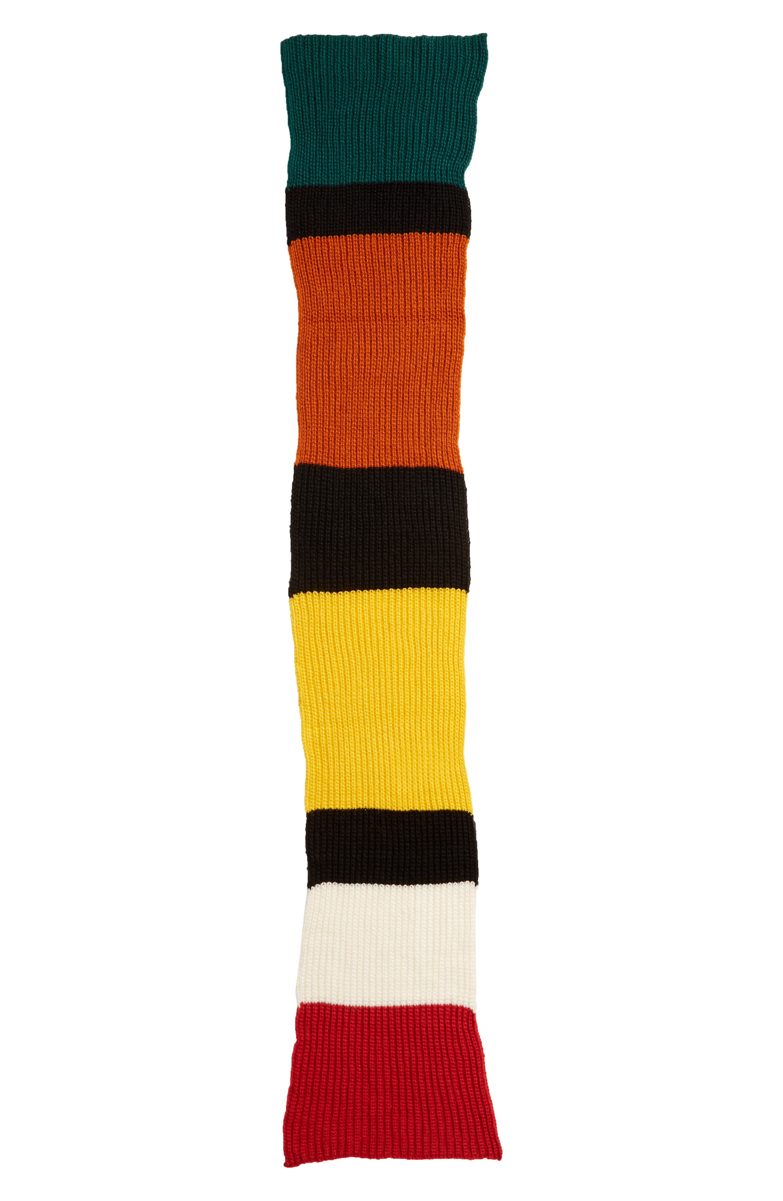 Colorblock Chunky Knit Scarf,                             Alternate thumbnail 3, color,                             BLACK COMBO