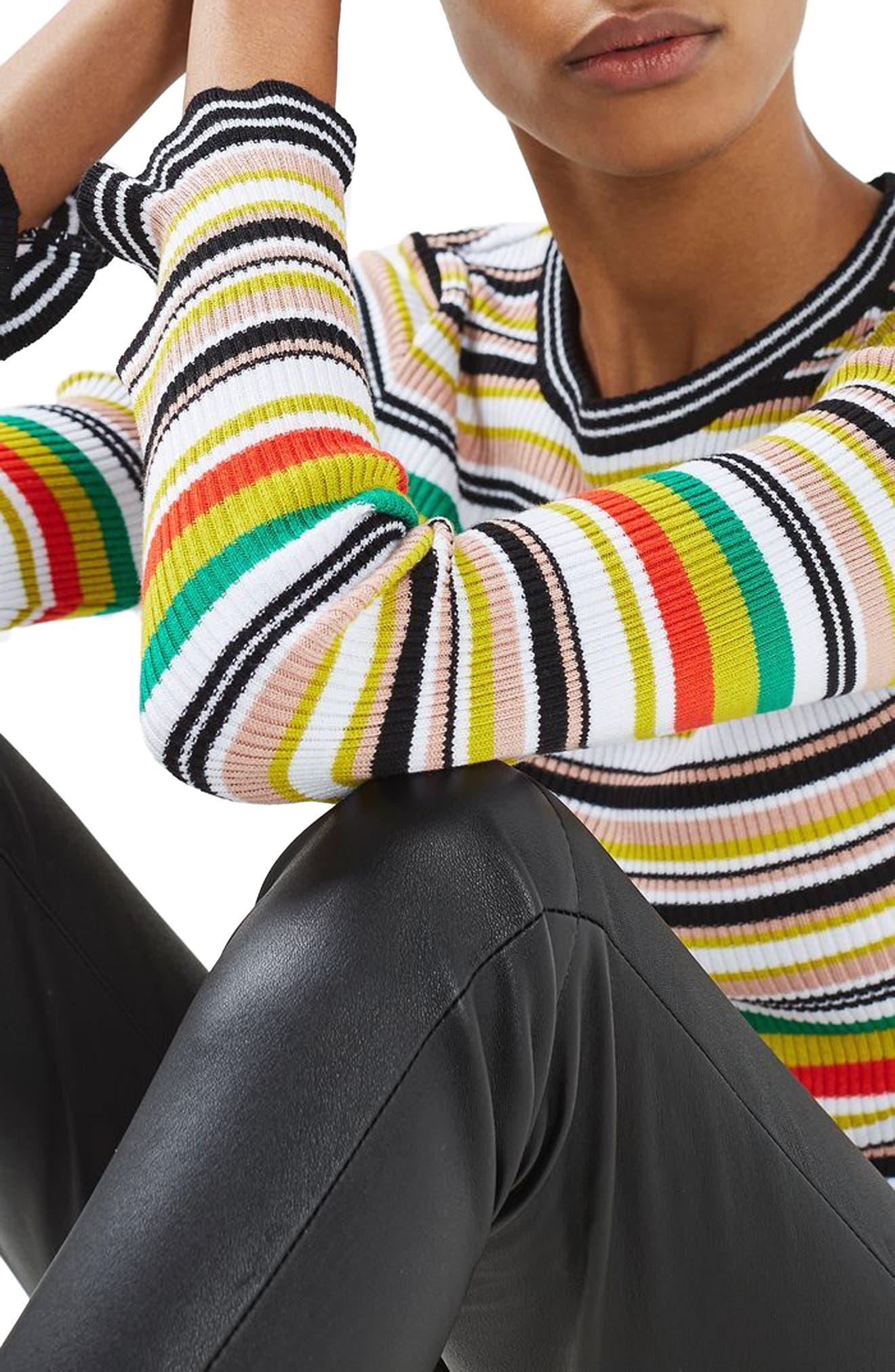 Hyper Stripe Sweater,                             Alternate thumbnail 3, color,                             100