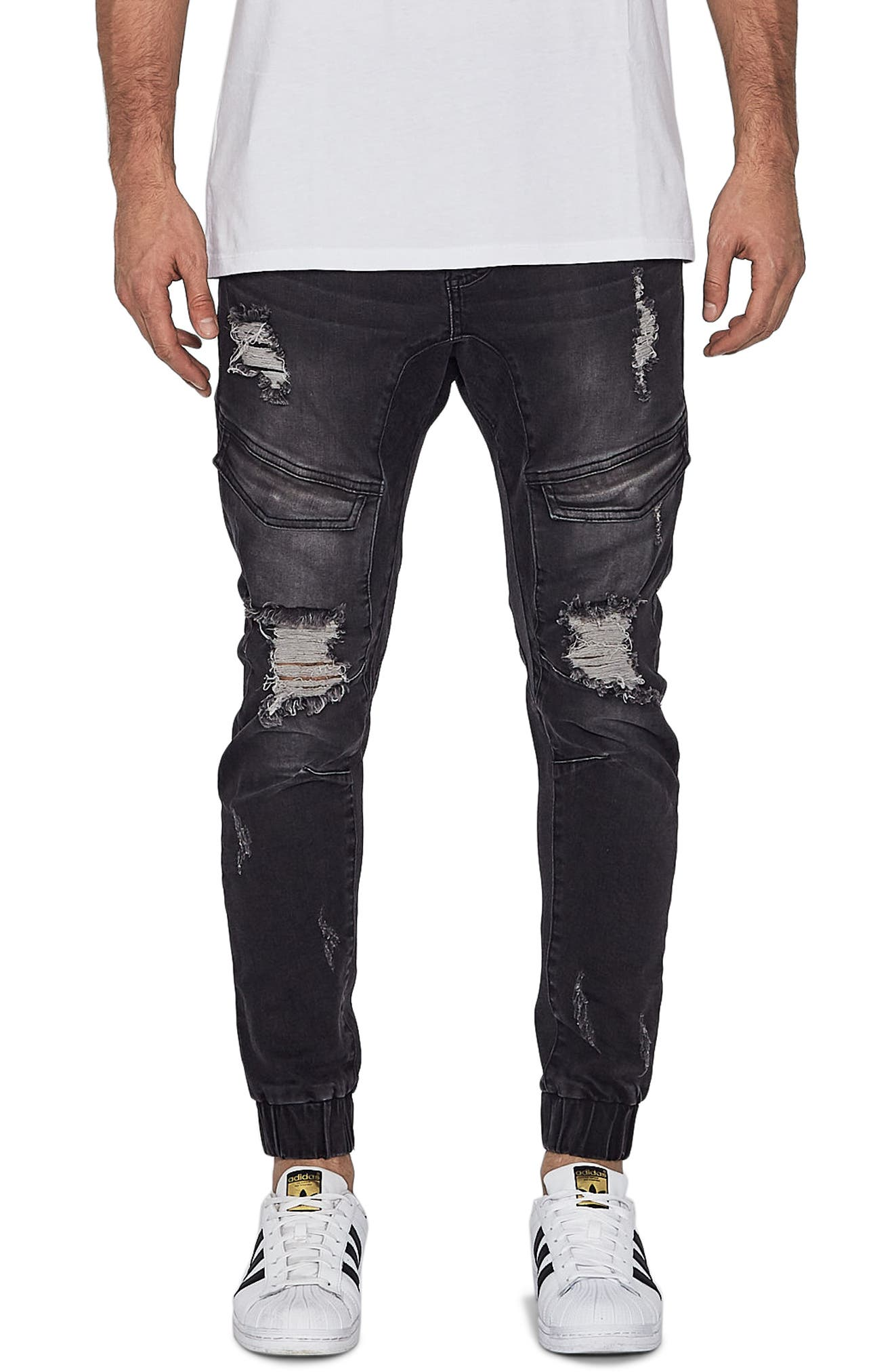 Flight Skinny Denim Jogger Pants,                             Main thumbnail 1, color,