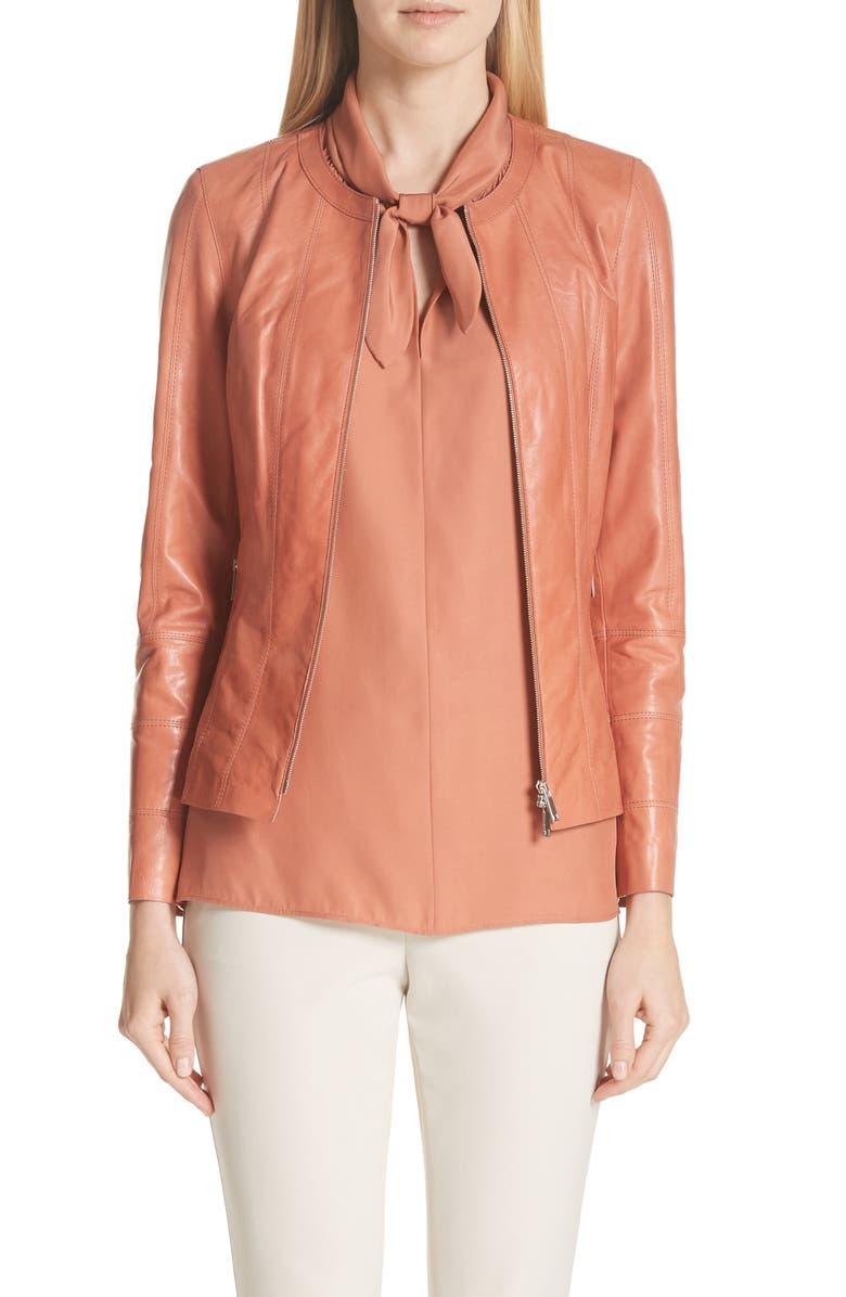 7f480aa5cfe Lafayette 148 New York Courtney Glazed Lambskin Leather Jacket ...