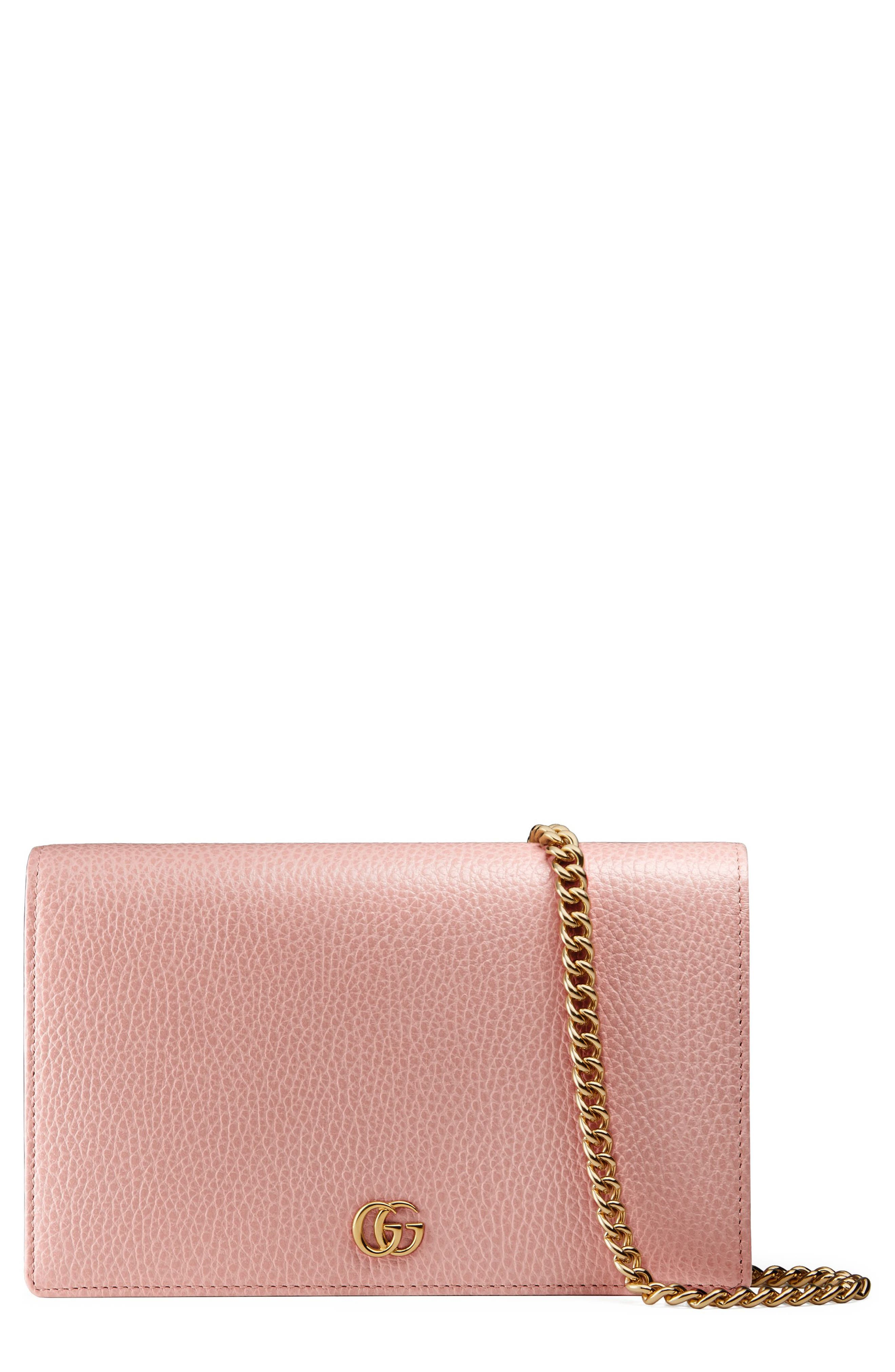 Petite Marmont Leather Wallet on a Chain,                             Main thumbnail 6, color,