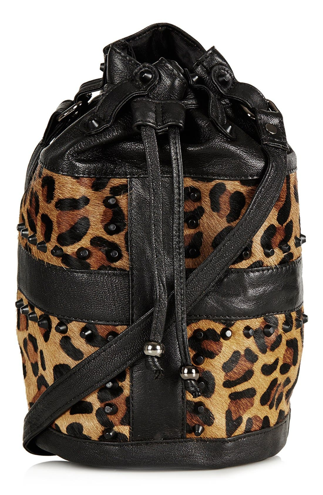 TOPSHOP,                             Leopard Print Crossbody Bag,                             Main thumbnail 1, color,                             200