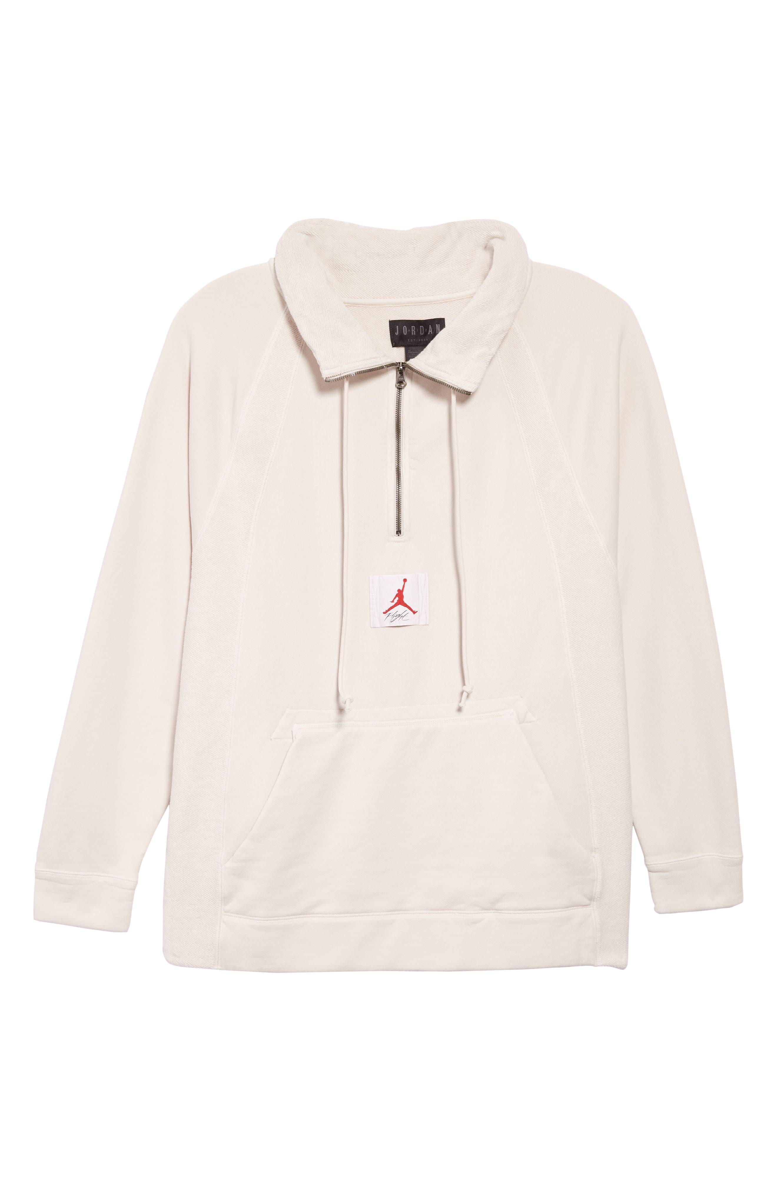Jordan Wings Washed Quarter Zip Sweatshirt,                             Alternate thumbnail 6, color,                             LIGHT BONE