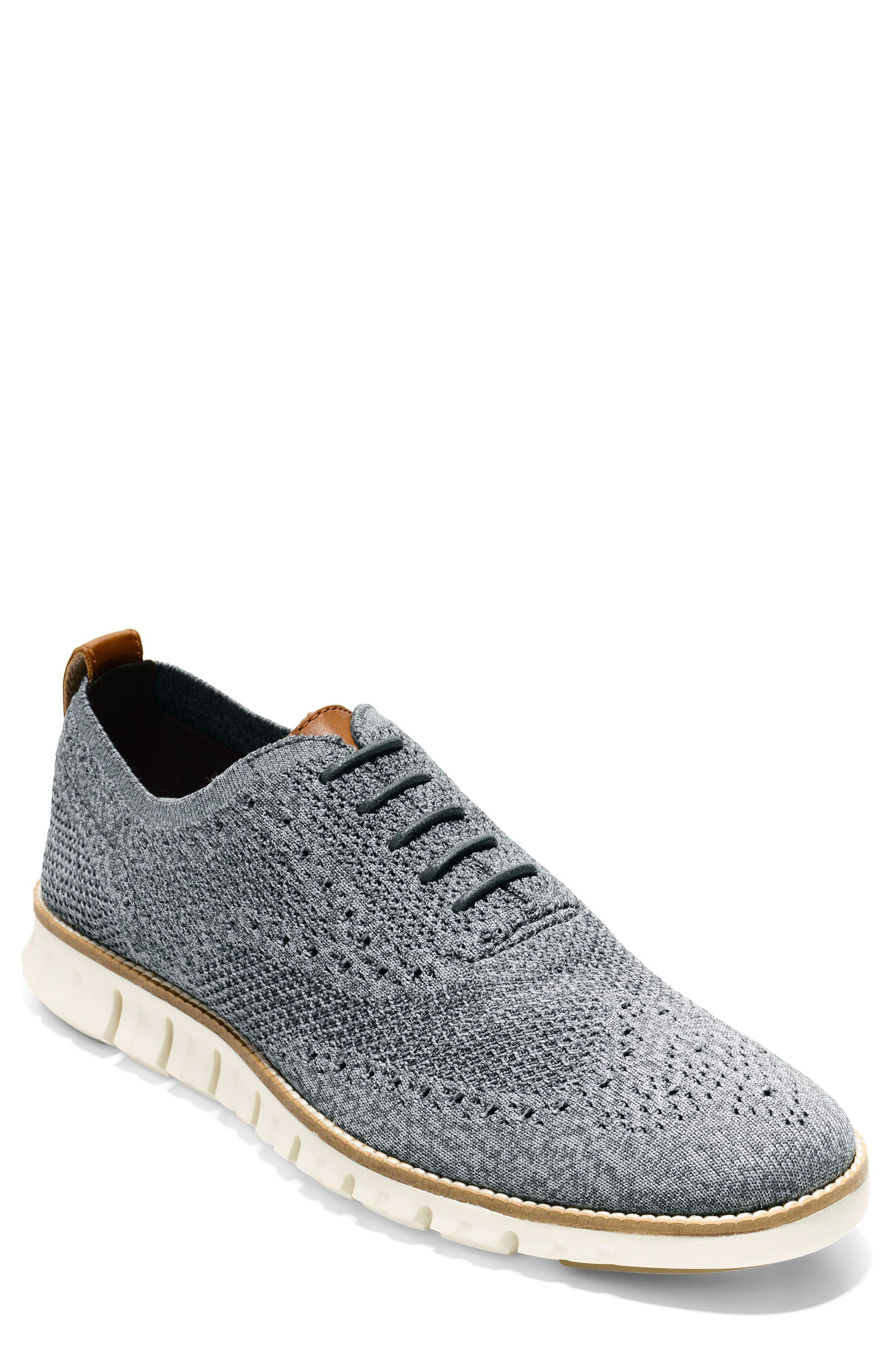 ZeroGrand Stitchlite Woven Wool Wingtip,                         Main,                         color, IRONSTONE/ MAGNET/ IVORY
