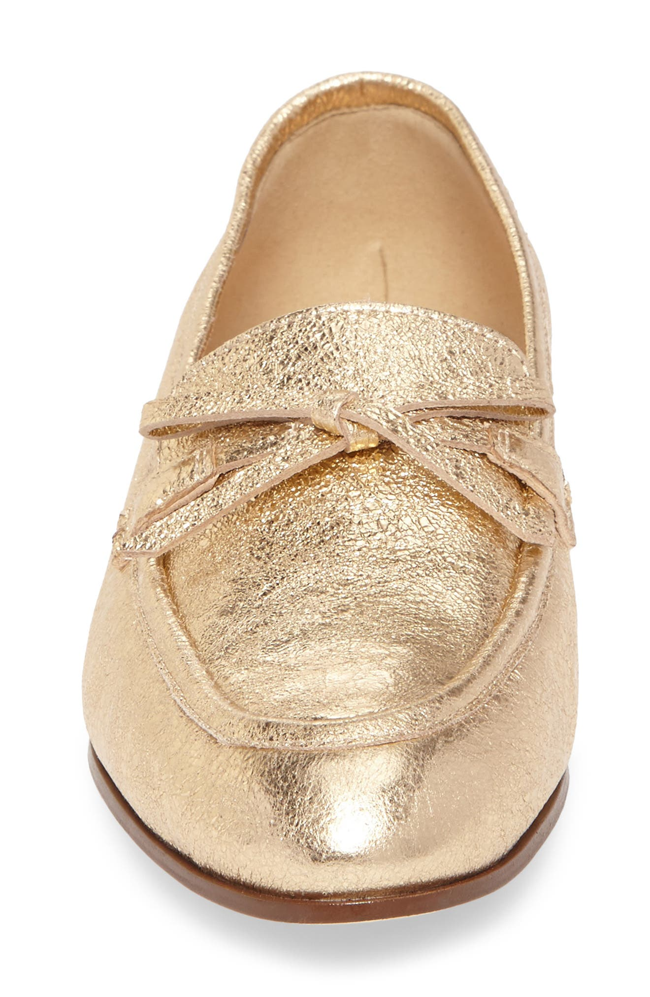 J. Crew Metallic Bow Loafer,                             Alternate thumbnail 4, color,                             710