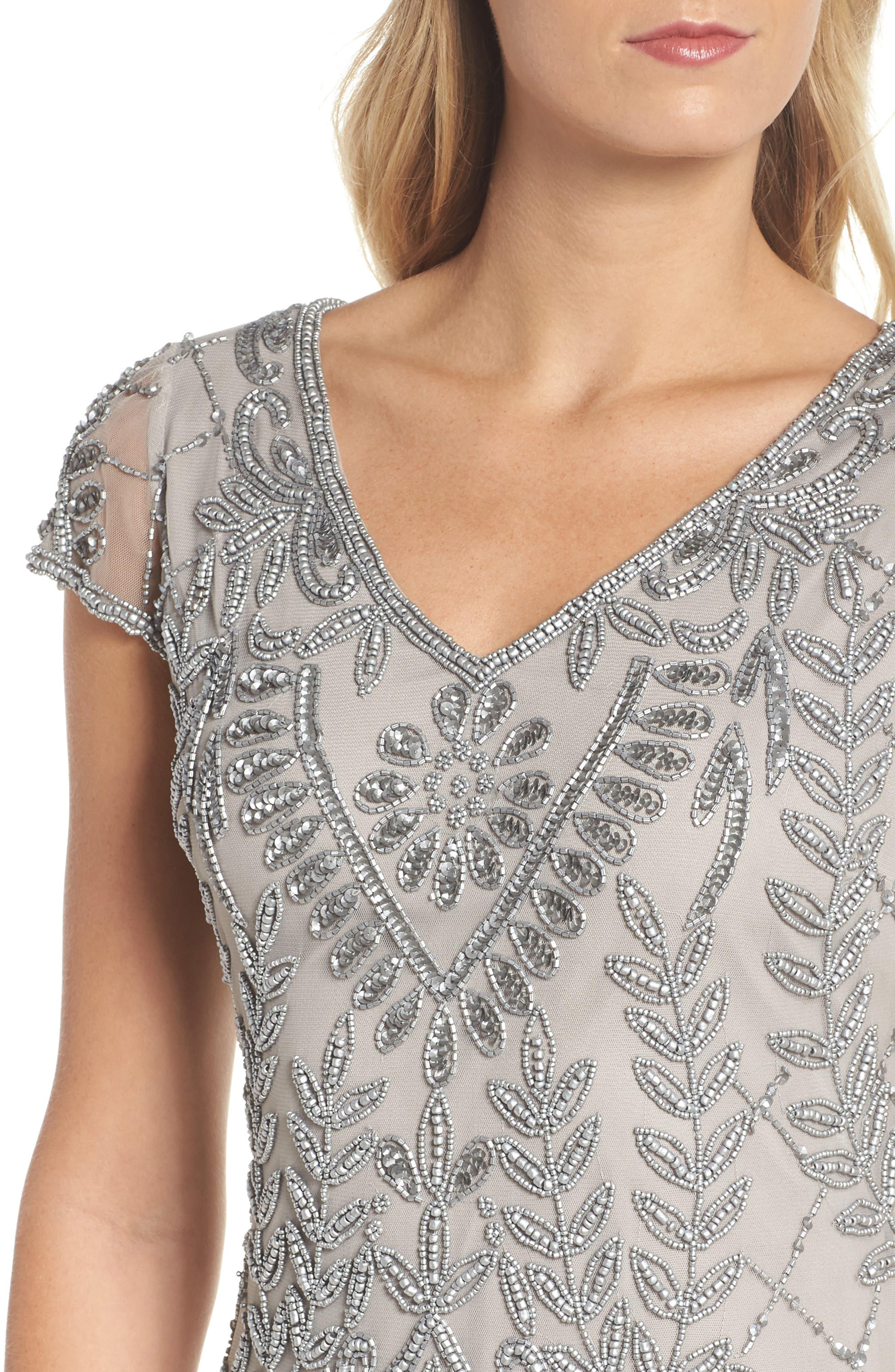 Beaded Sheath Dress,                             Alternate thumbnail 4, color,                             040