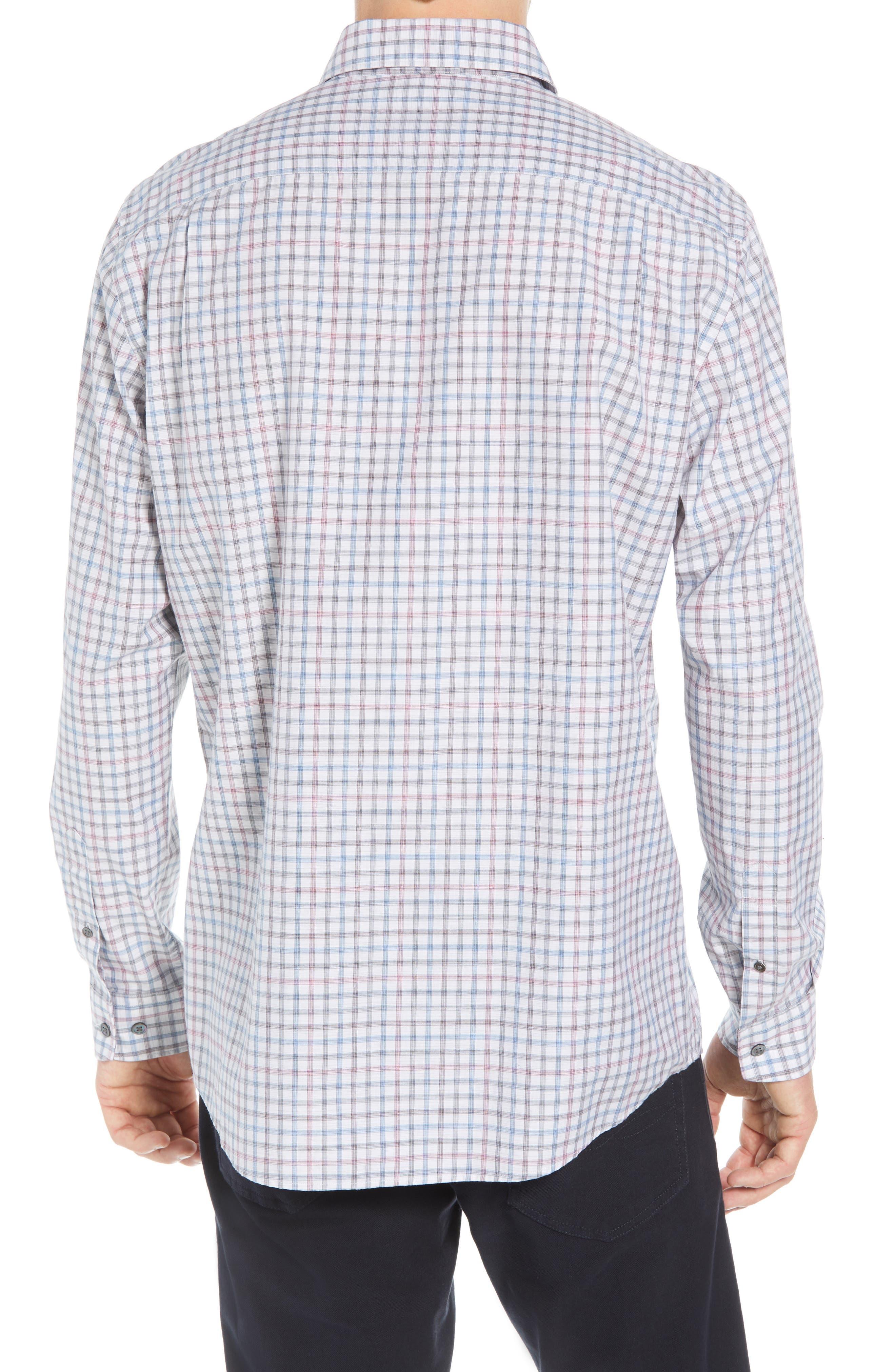 Port Hutt Regular Fit Check Sport Shirt,                             Alternate thumbnail 3, color,                             OYSTER