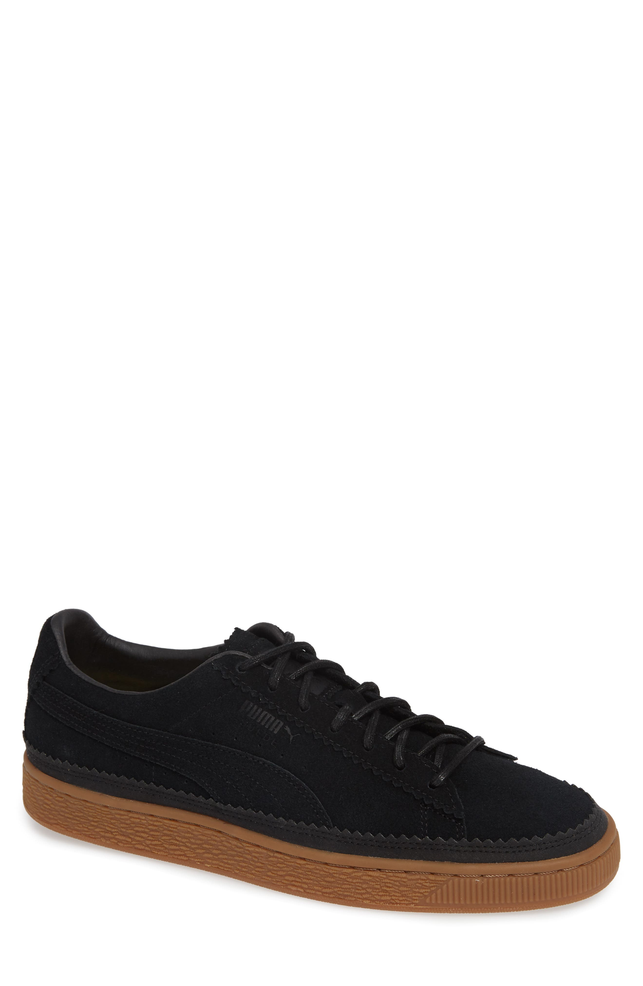 Suede Sneaker,                         Main,                         color, BLACK/ BLACK