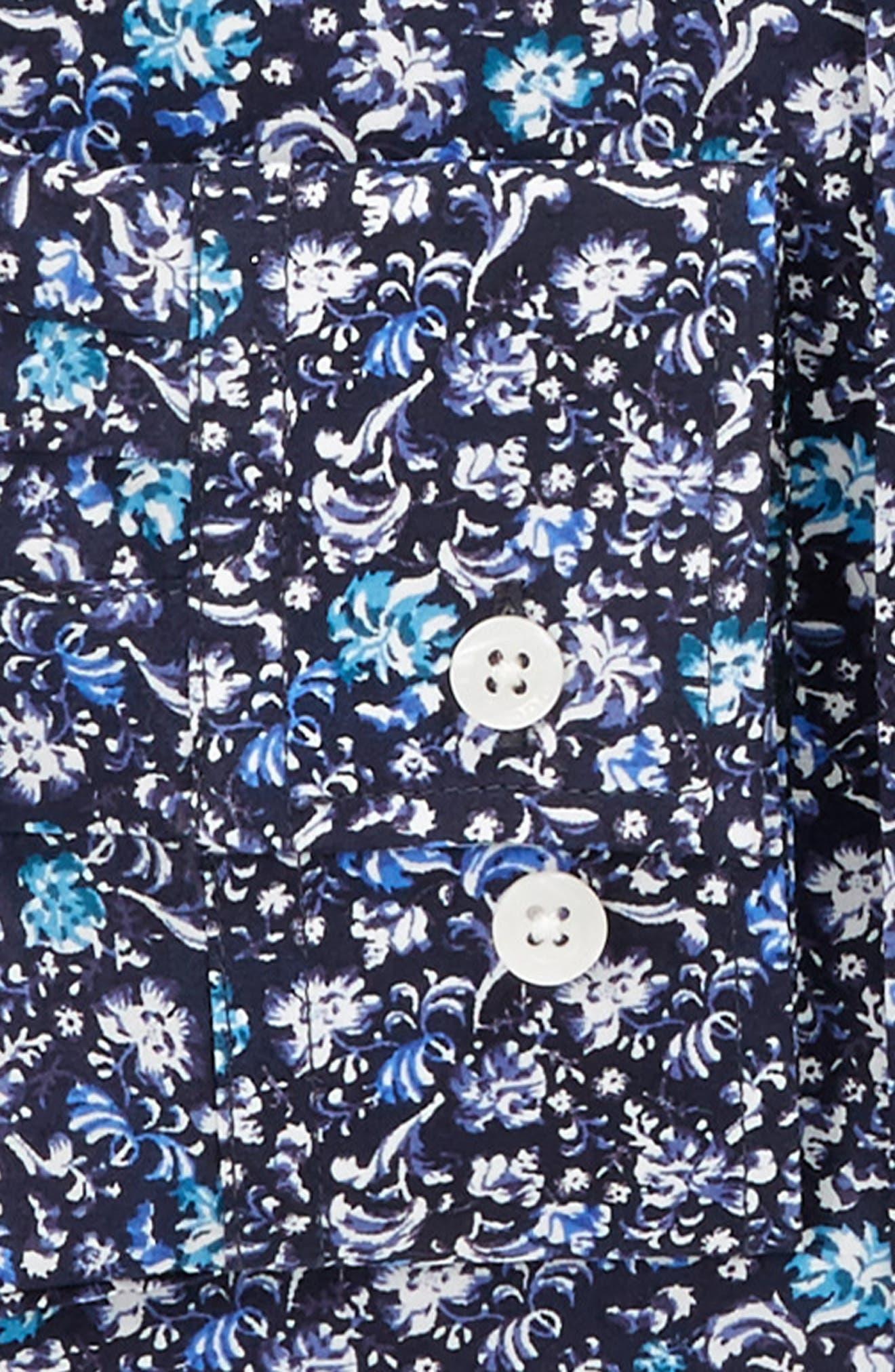 Trim Fit Floral Dress Shirt,                             Alternate thumbnail 4, color,                             NAVY
