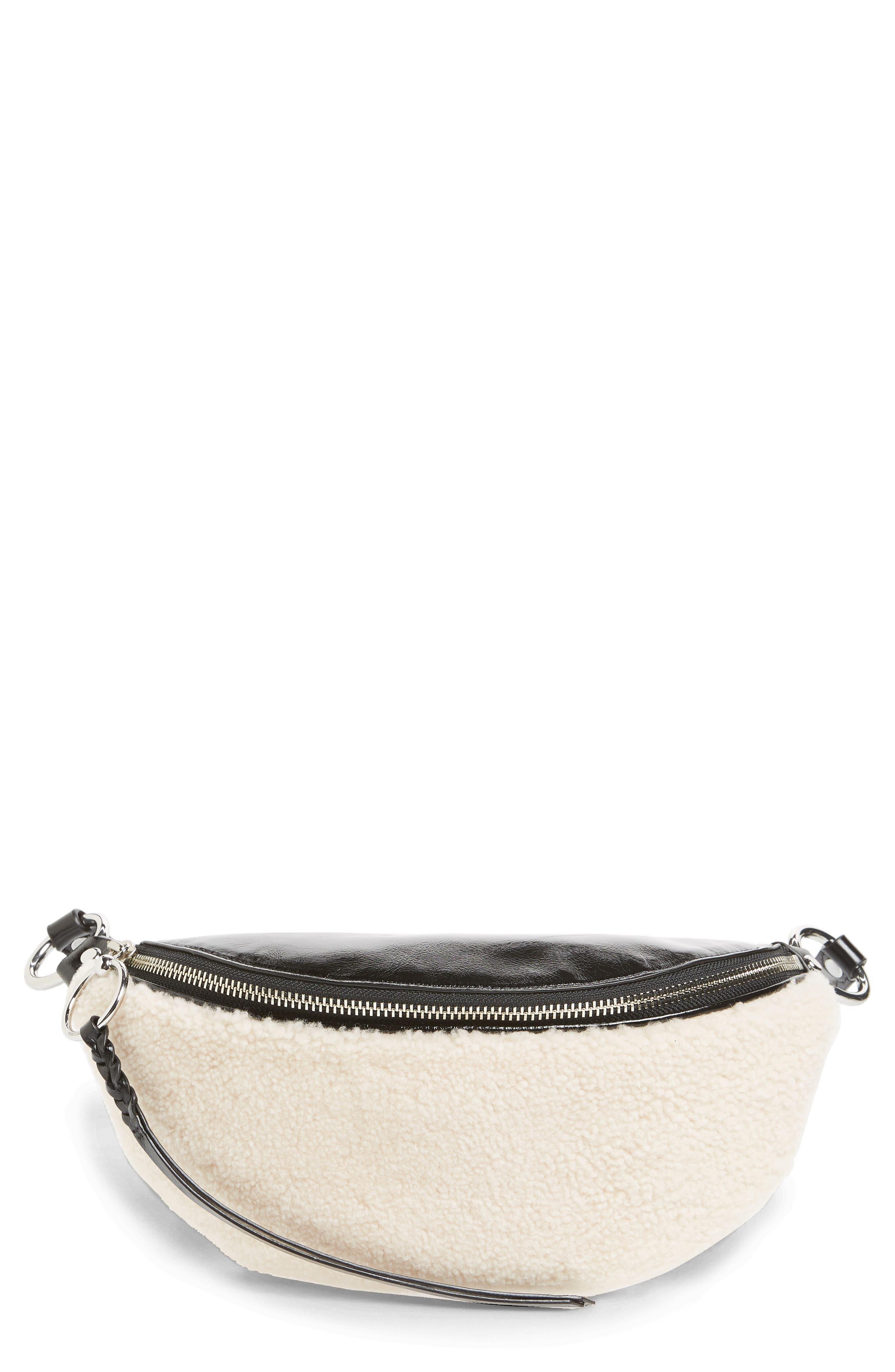 Genuine Shearling Belt Bag,                         Main,                         color, NATURAL
