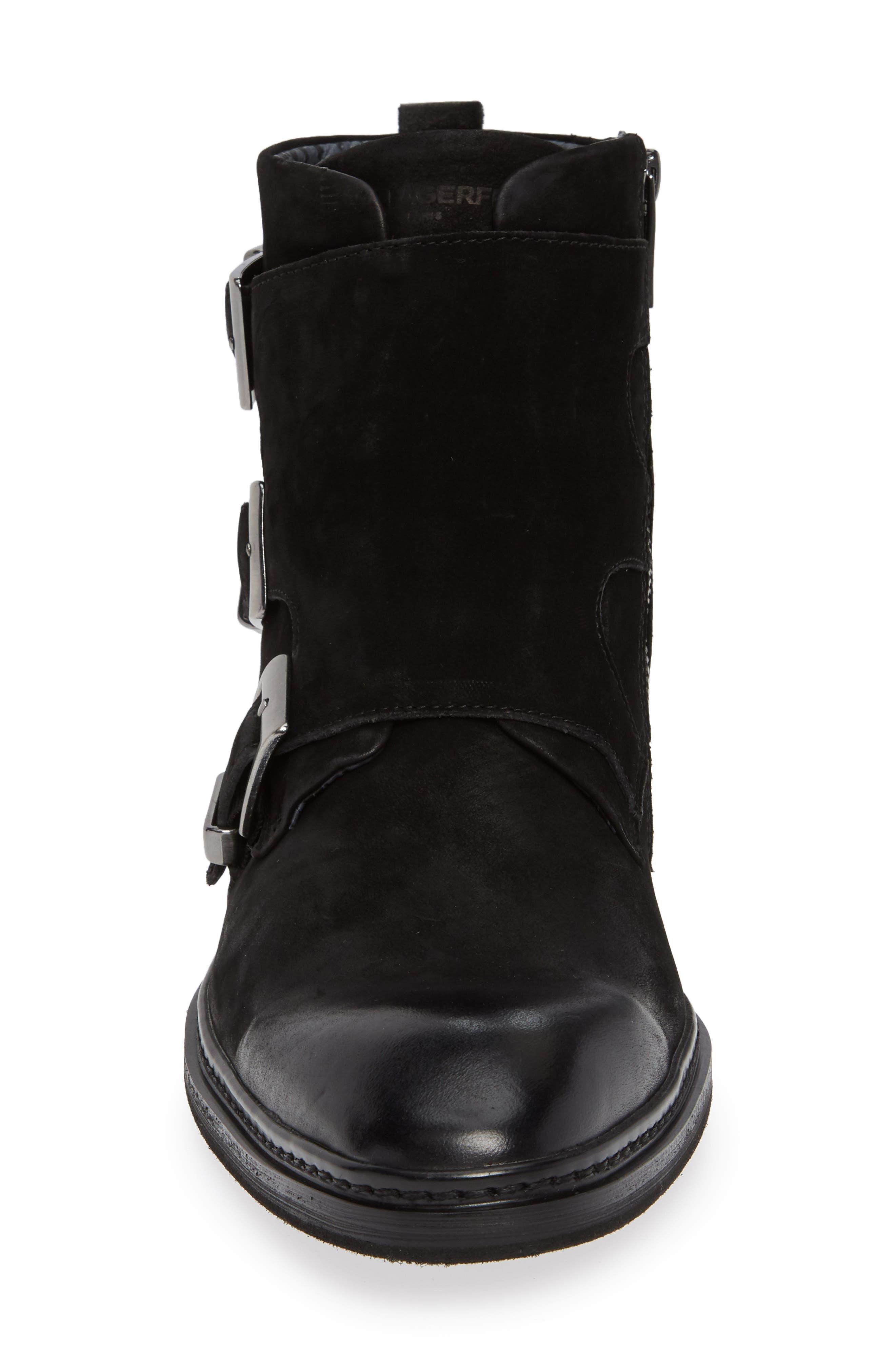Triple Buckle Monk Boot,                             Alternate thumbnail 4, color,                             BLACK