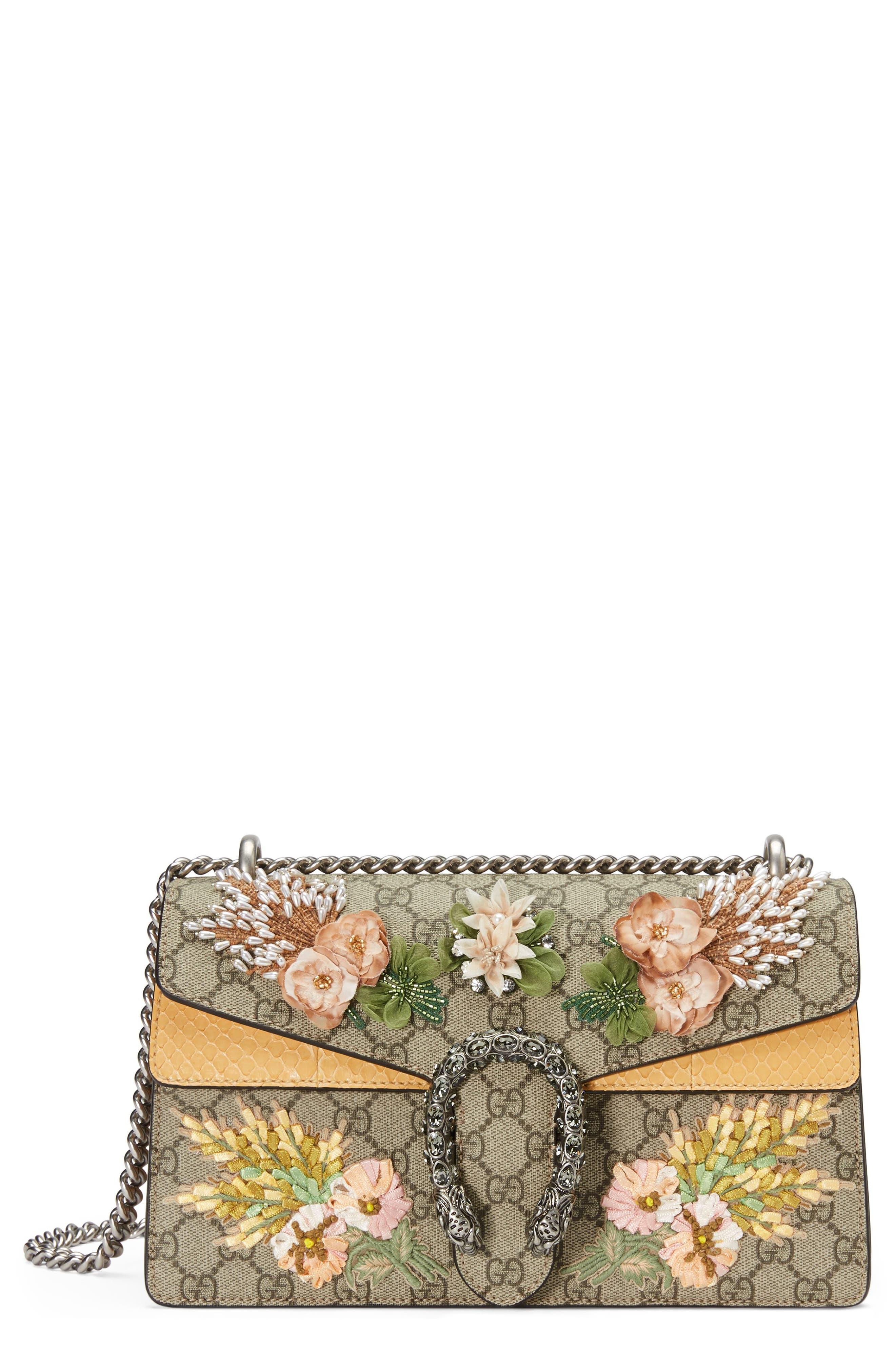Small Dionysus Embellished GG Supreme & Genuine Python Shoulder Bag,                             Main thumbnail 1, color,                             BEIGE EBONY/ VIPER YELLOW