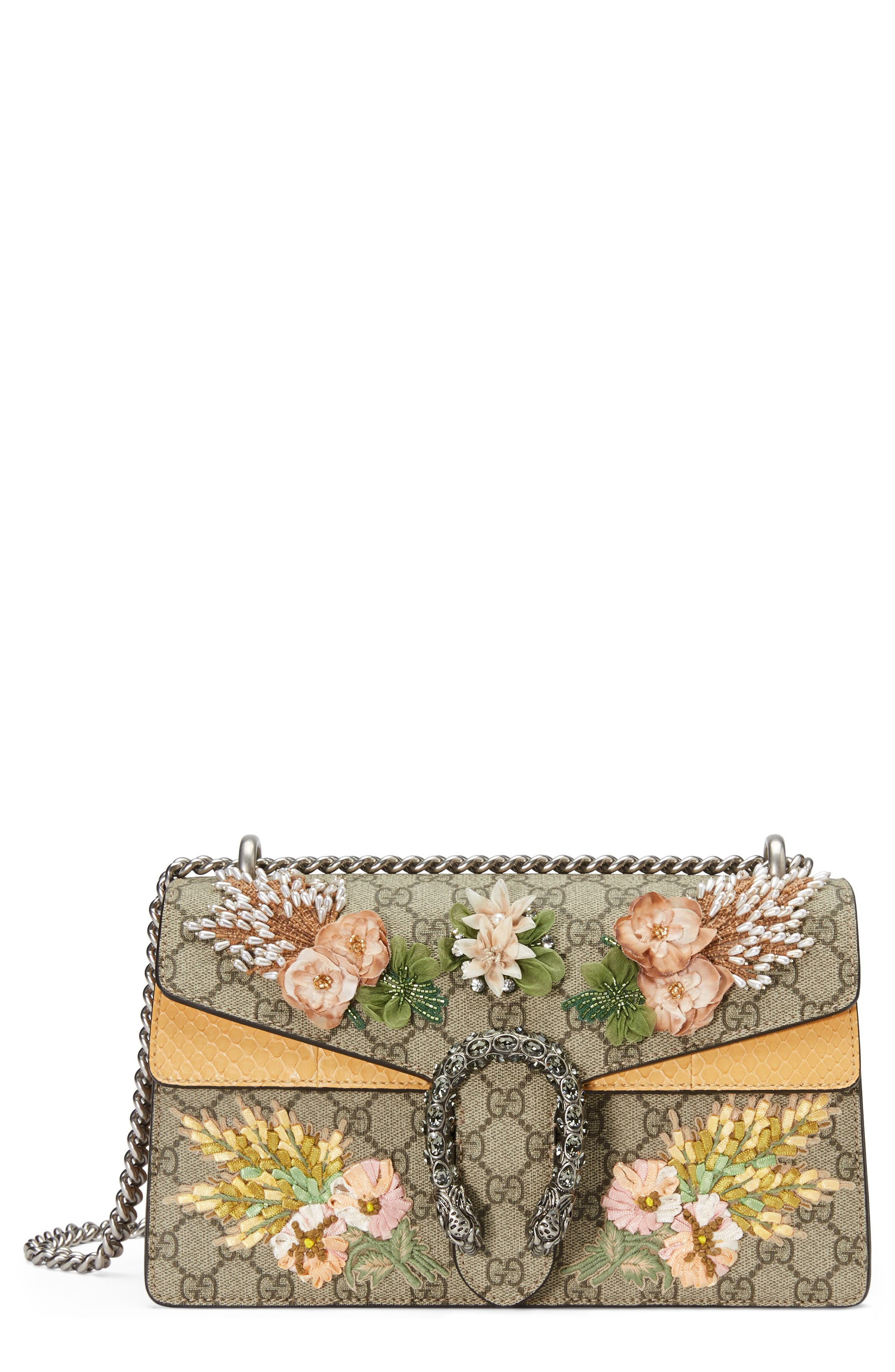 Small Dionysus Embellished GG Supreme & Genuine Python Shoulder Bag,                         Main,                         color, 268