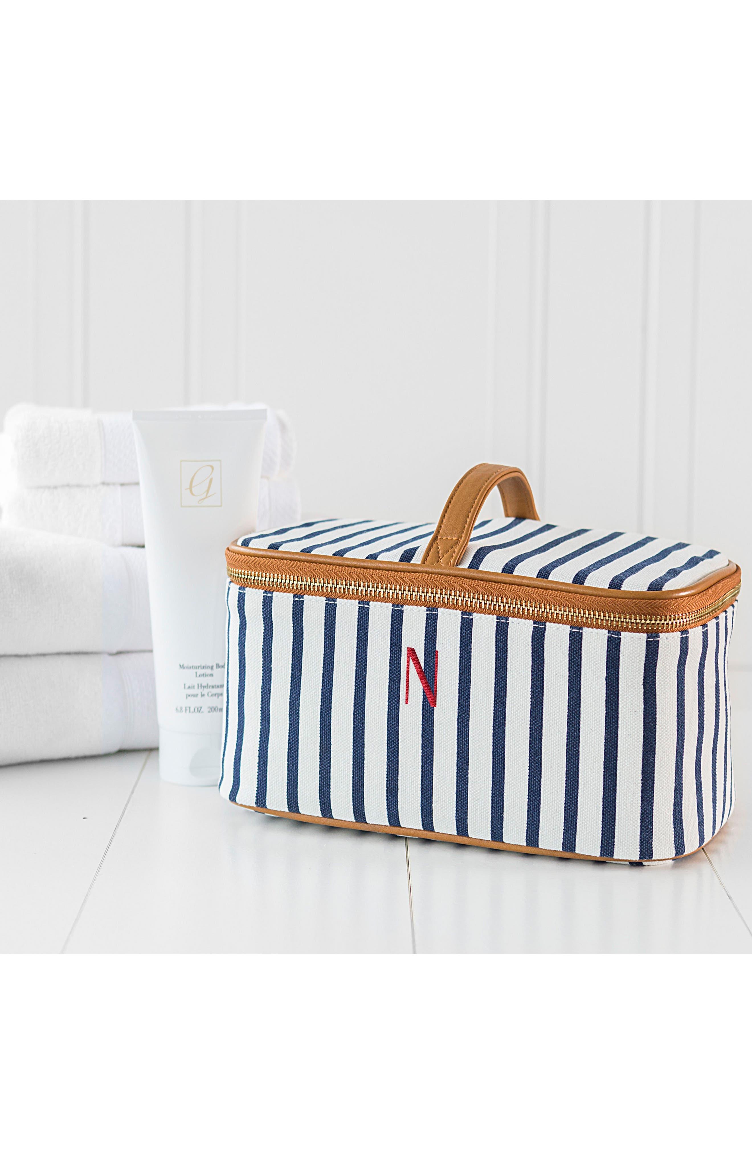 Monogram Stripe Canvas Cosmetics Case,                             Alternate thumbnail 9, color,                             BLUE
