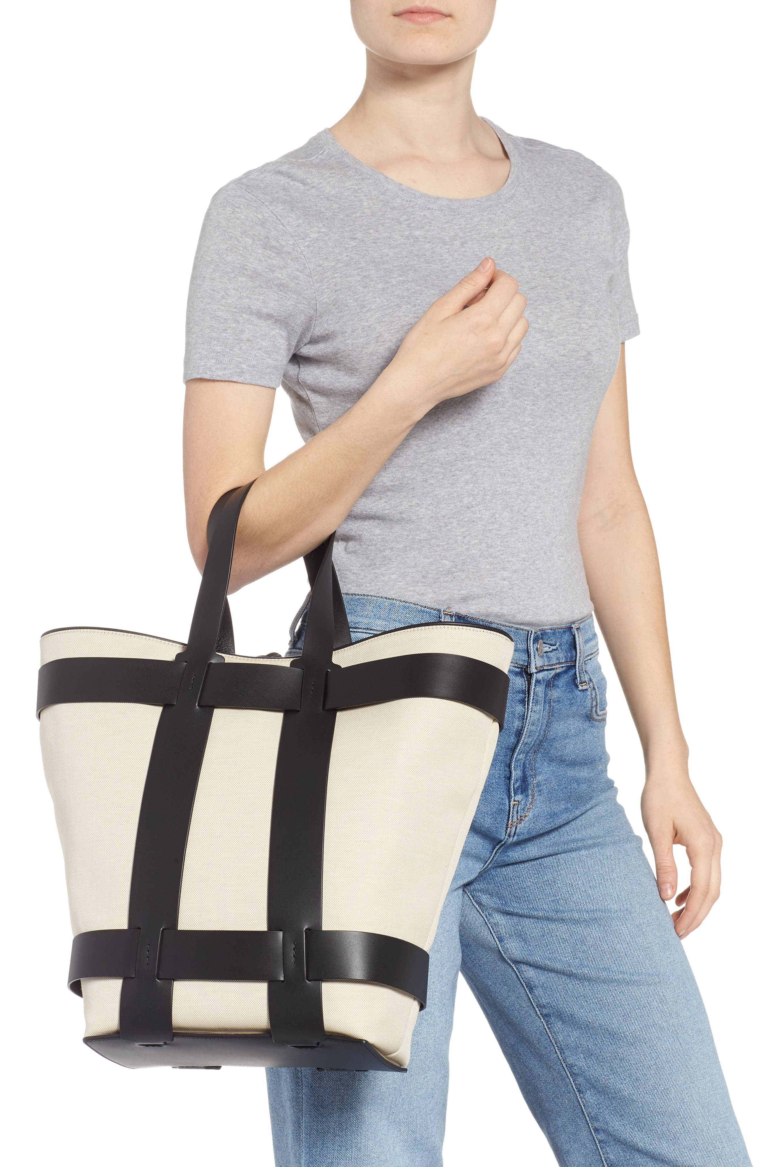 PACO RABANNE,                             Cage Leather & Canvas North/South Tote,                             Alternate thumbnail 2, color,                             IVORY/ BLACK