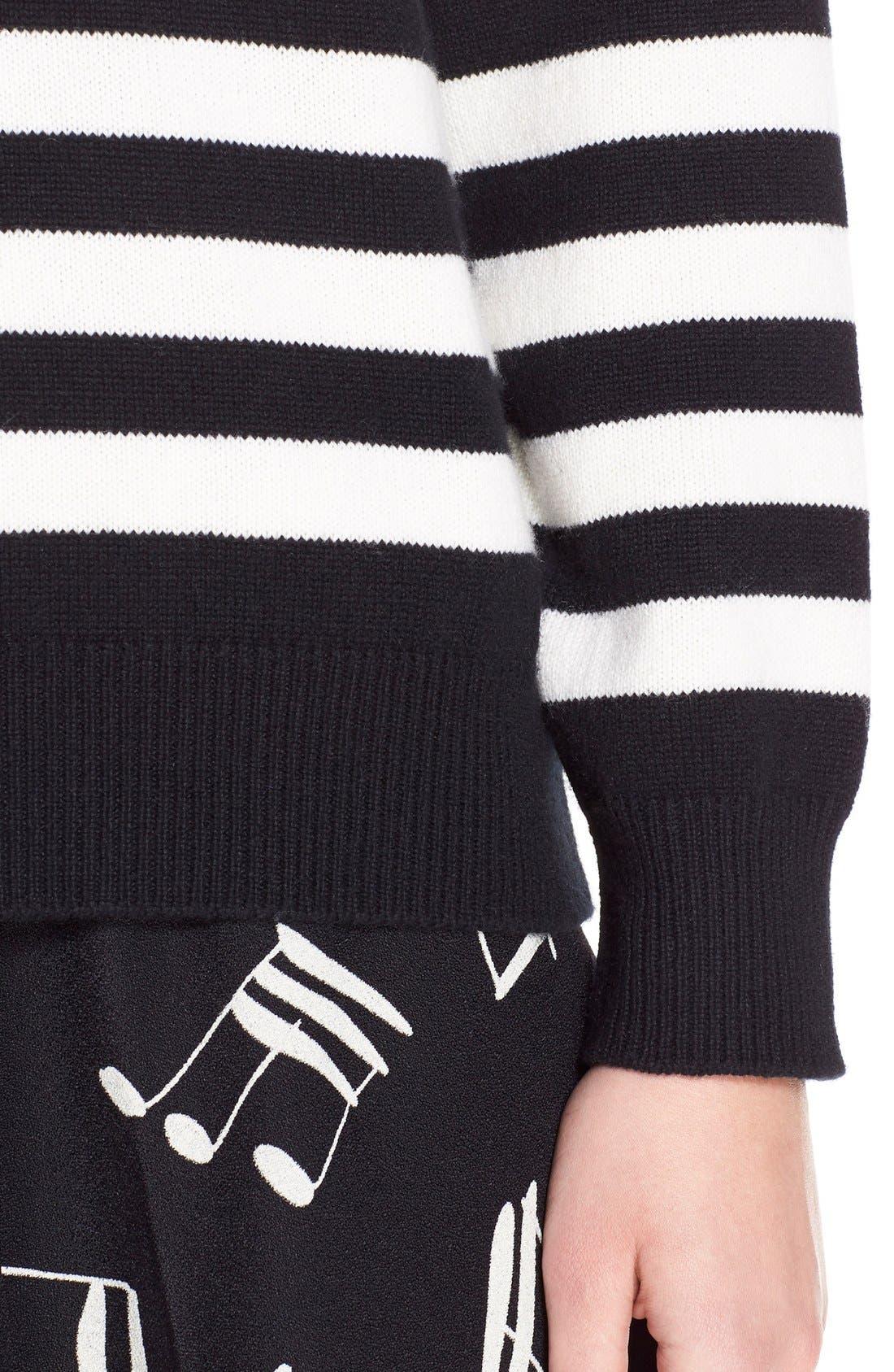 Stripe Cashmere Sweater,                             Alternate thumbnail 6, color,                             BLACK CREME