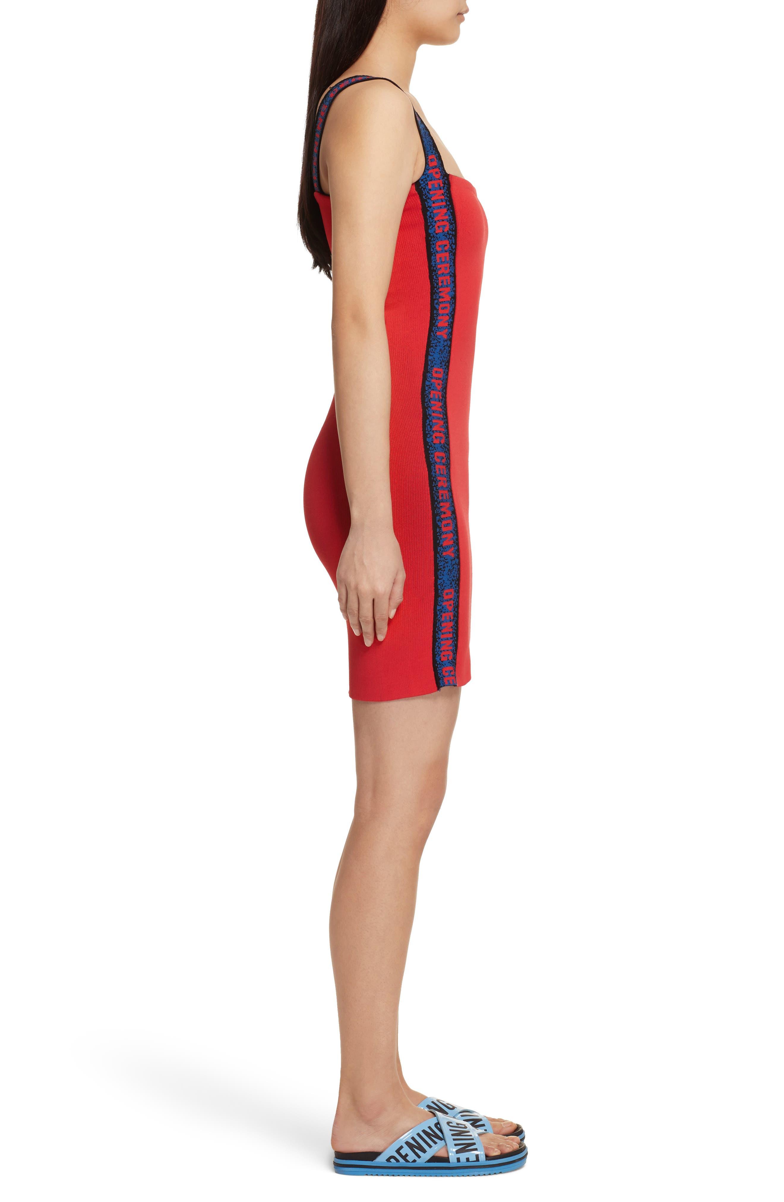 Logo Tape Ribbed Body-Con Dress,                             Alternate thumbnail 6, color,
