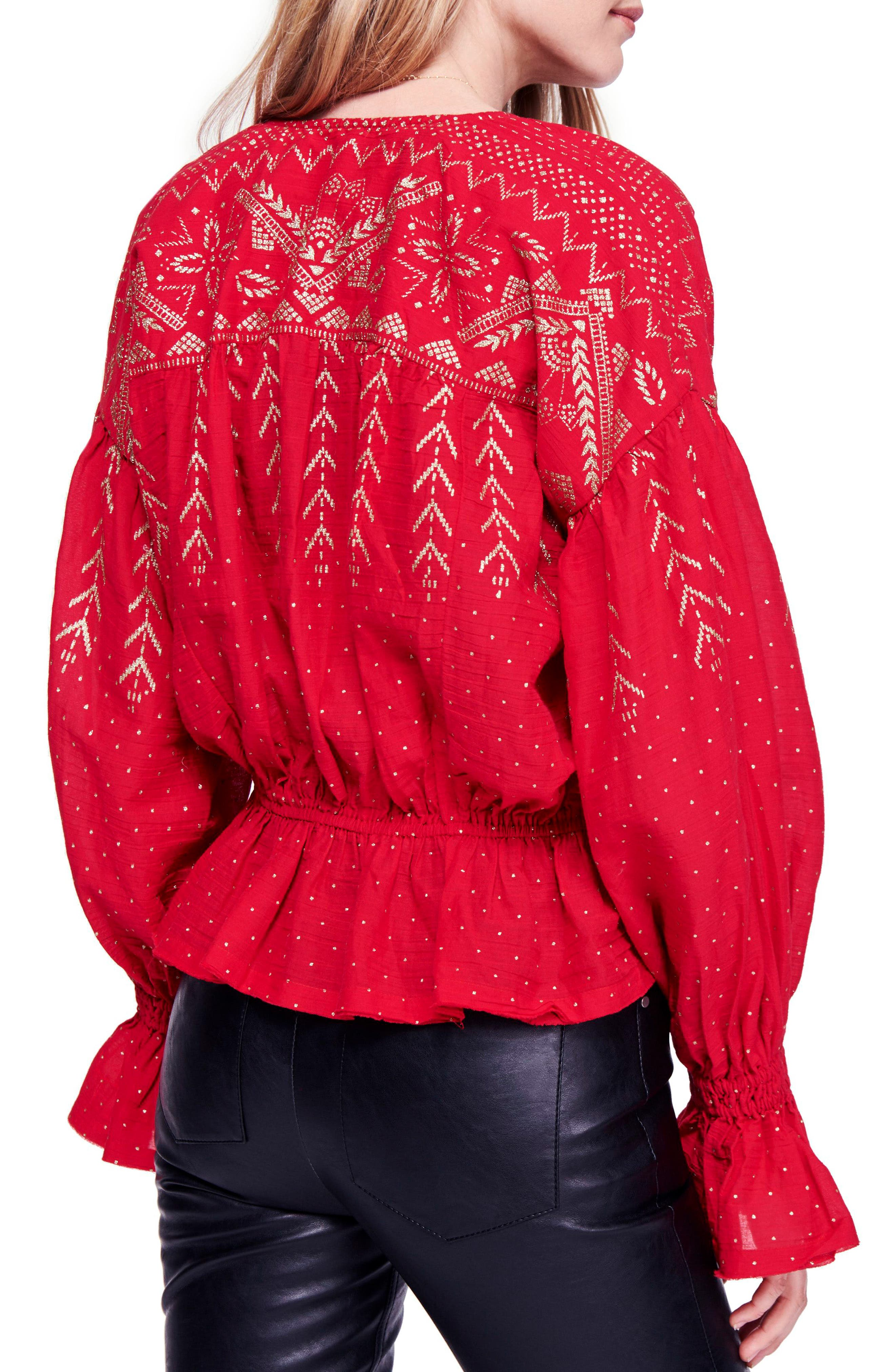 Counting Stars Blouse,                             Alternate thumbnail 2, color,                             RED
