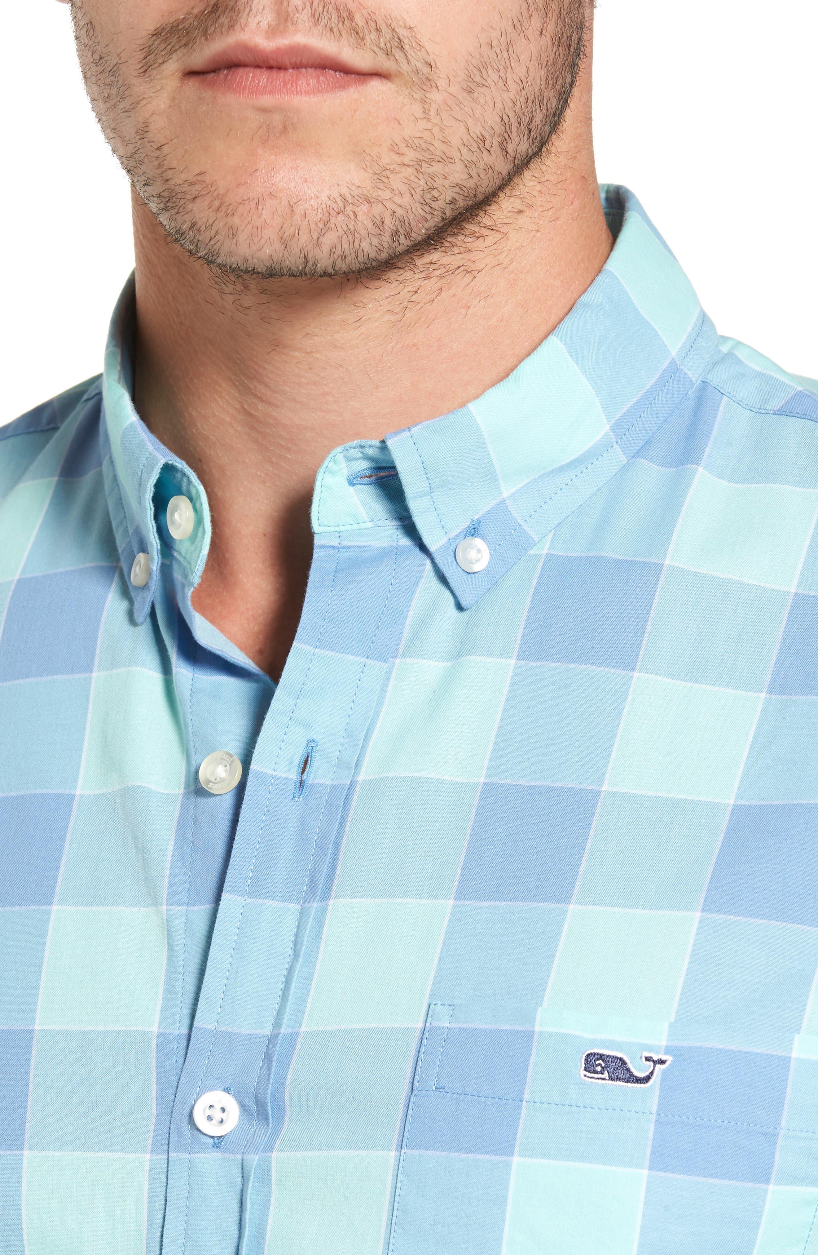 Hideaway Check Tucker Slim Fit Sport Shirt,                             Alternate thumbnail 4, color,                             407