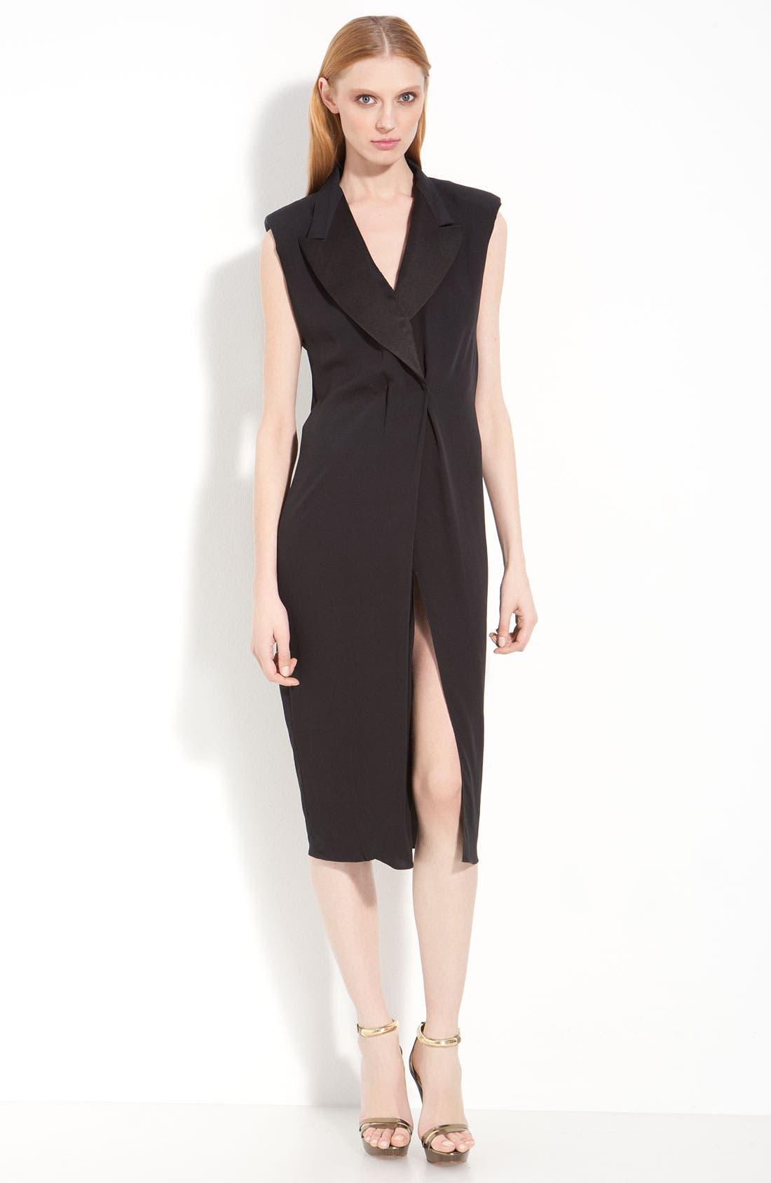 Crepe Georgette Tuxedo Dress,                             Main thumbnail 1, color,                             001