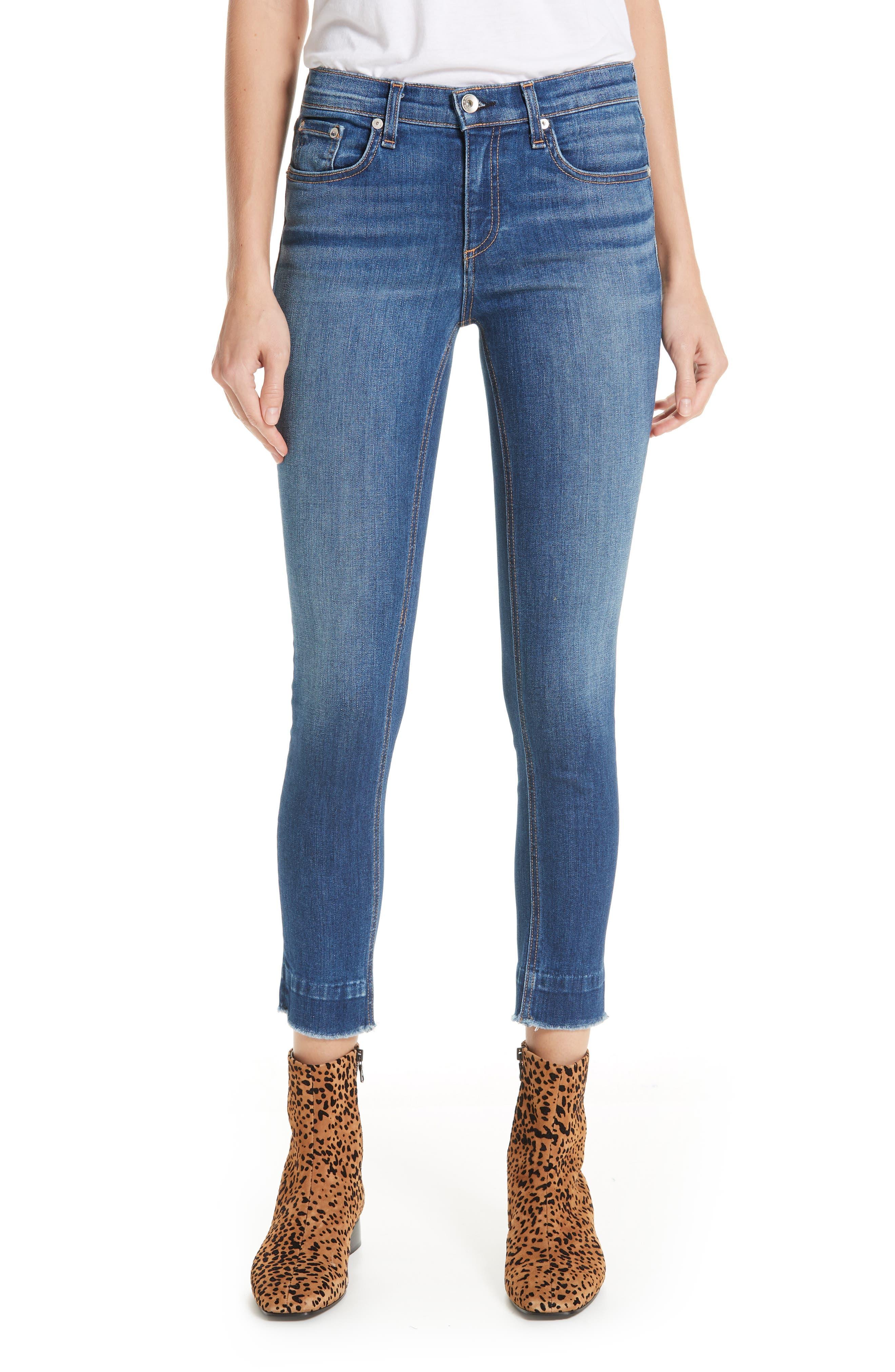 Raw Hem Ankle Skinny Jeans,                             Main thumbnail 1, color,                             BLAIR