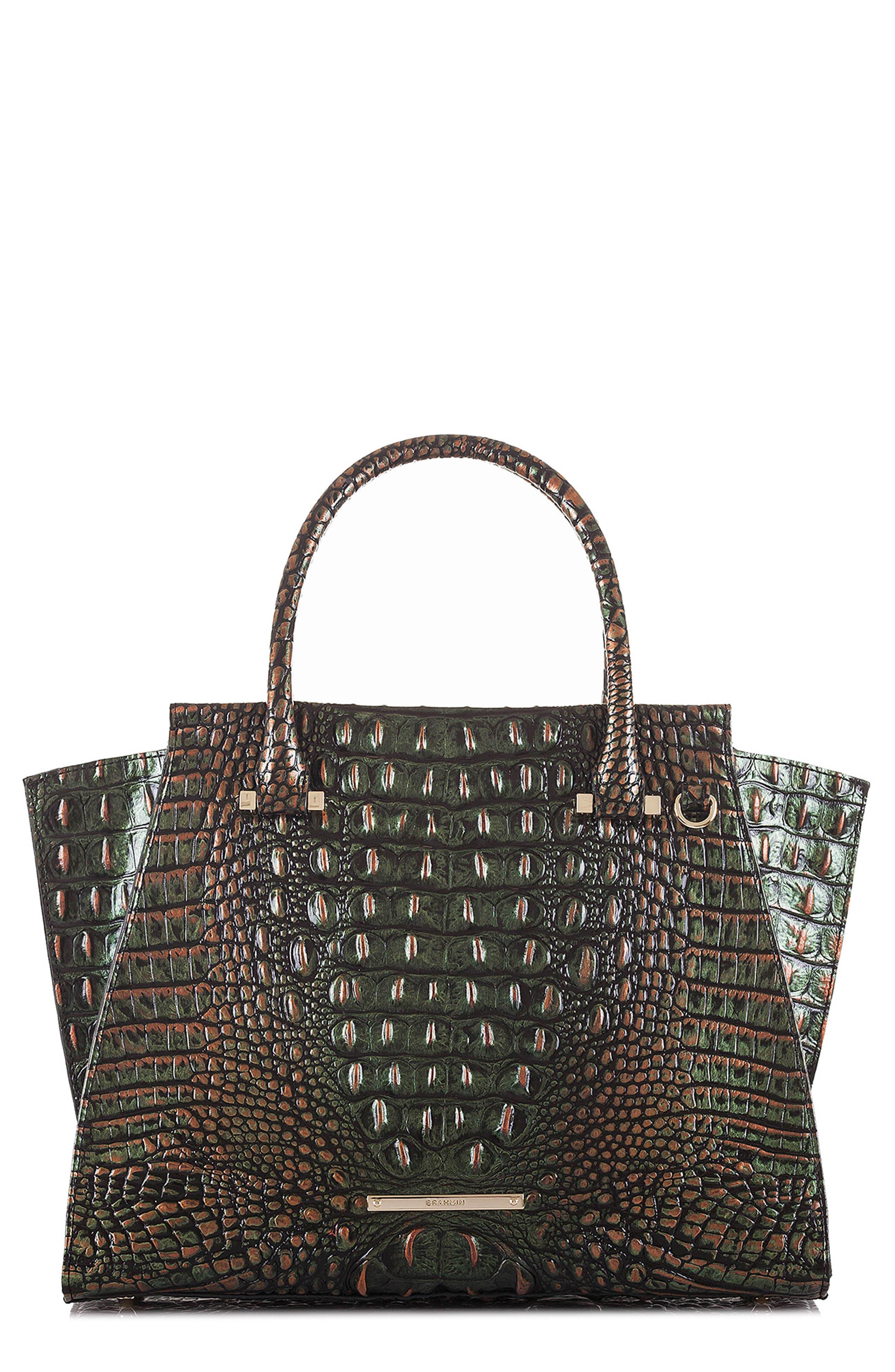 'Priscilla' Croc Embossed Leather Satchel,                             Main thumbnail 1, color,                             203