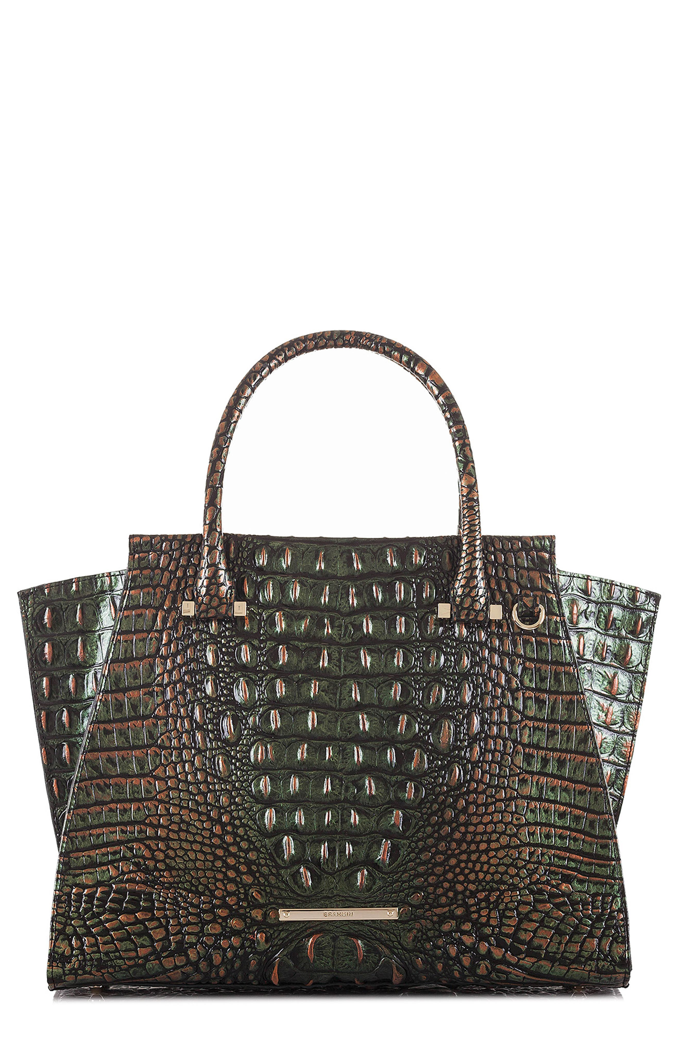 'Priscilla' Croc Embossed Leather Satchel,                         Main,                         color, 203