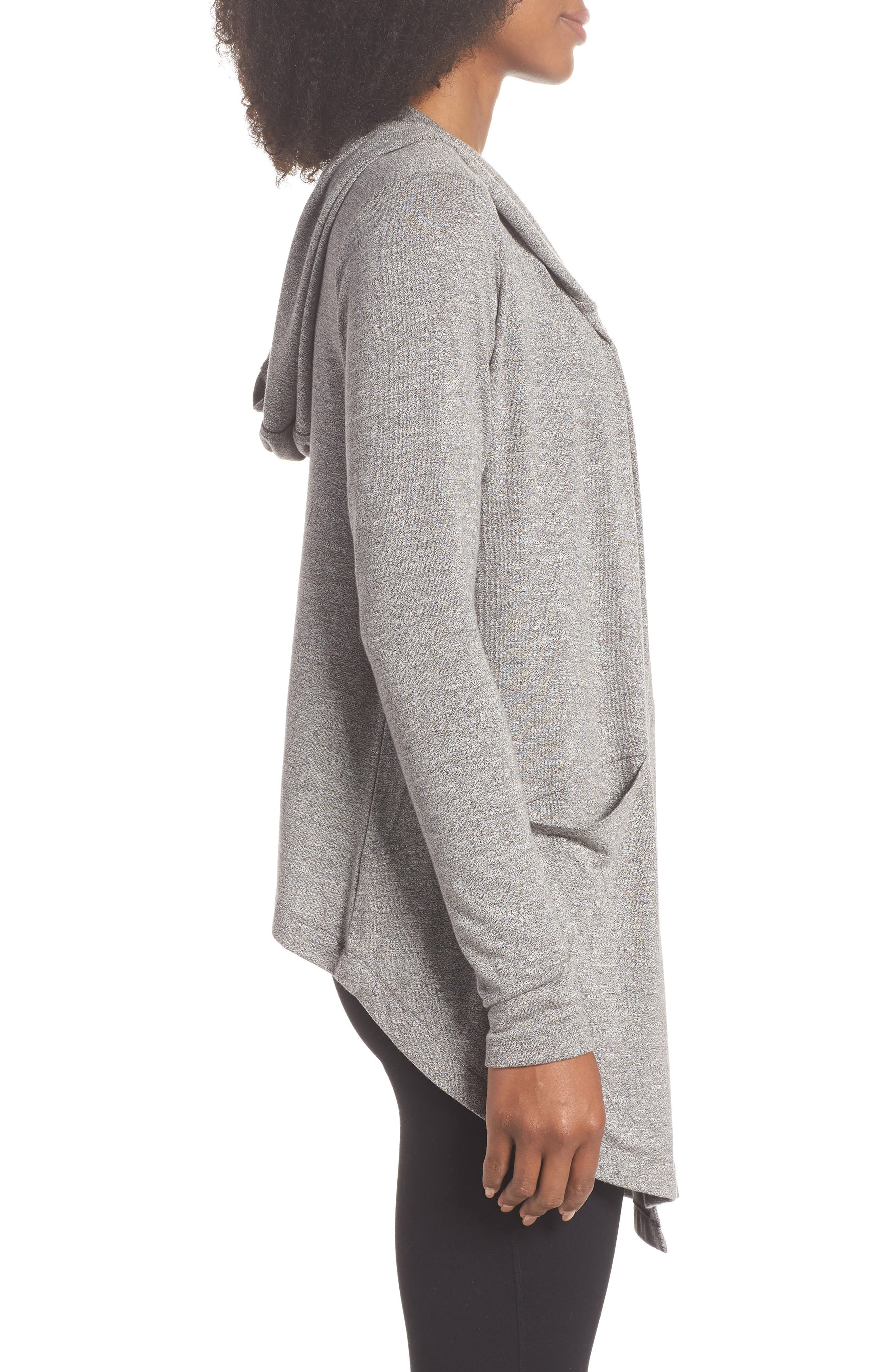 After Class Hooded Cardigan,                             Alternate thumbnail 3, color,                             GREY DARK HEATHER