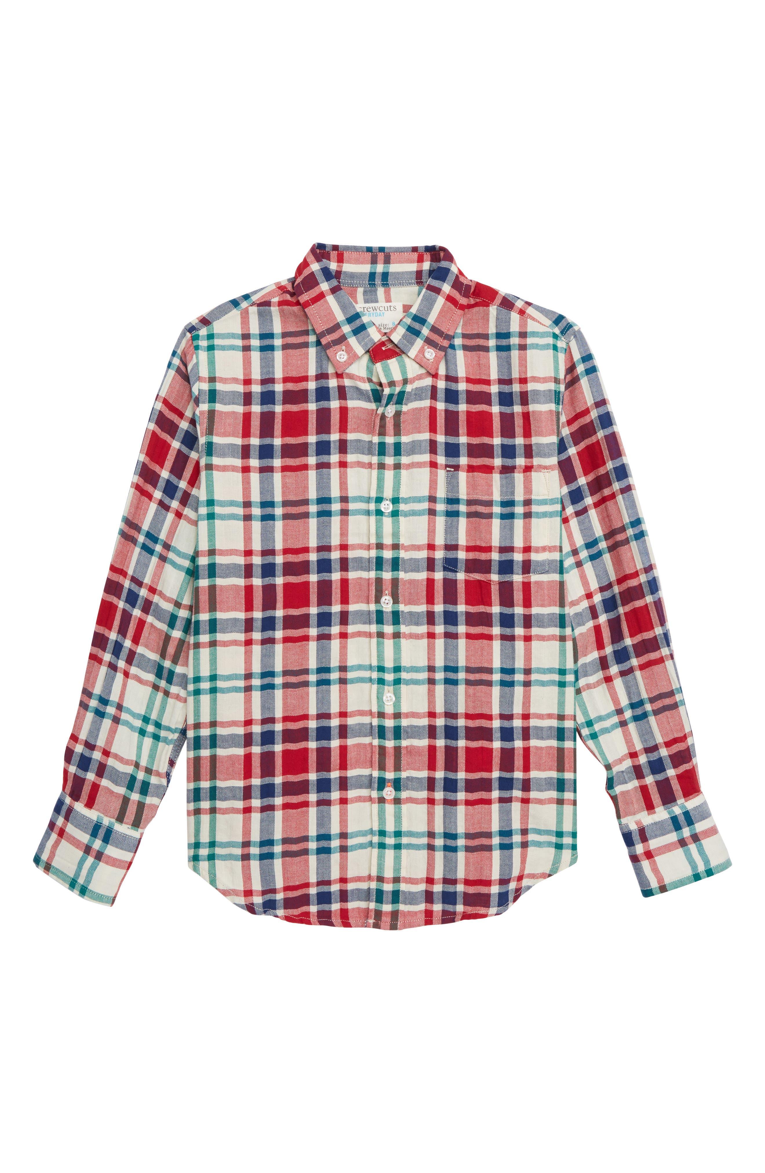 Plaid Crinkle Shirt,                             Main thumbnail 1, color,                             IVORY MULTI
