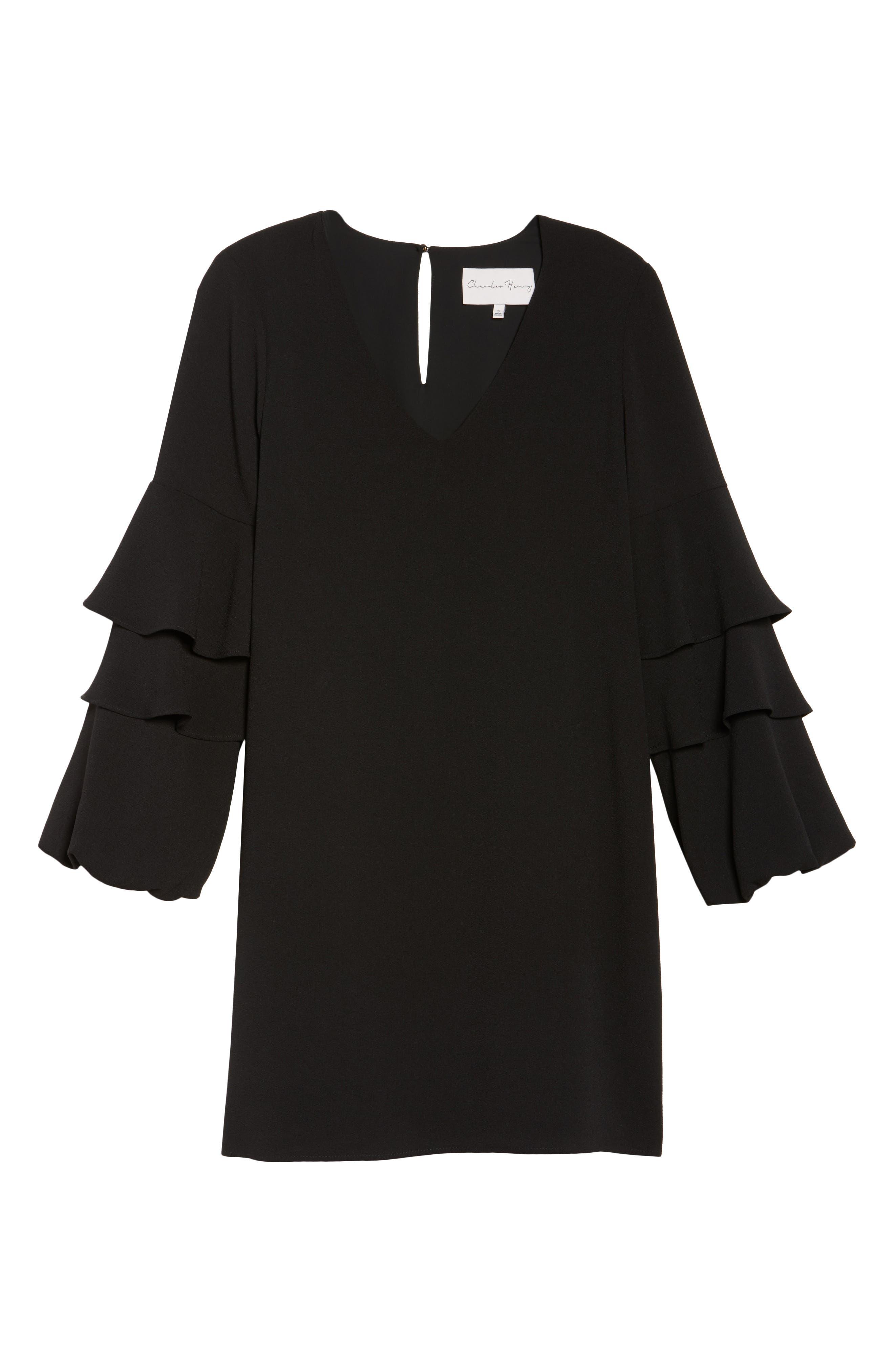 Tiered Ruffle Sleeve Dress,                             Alternate thumbnail 8, color,                             BLACK