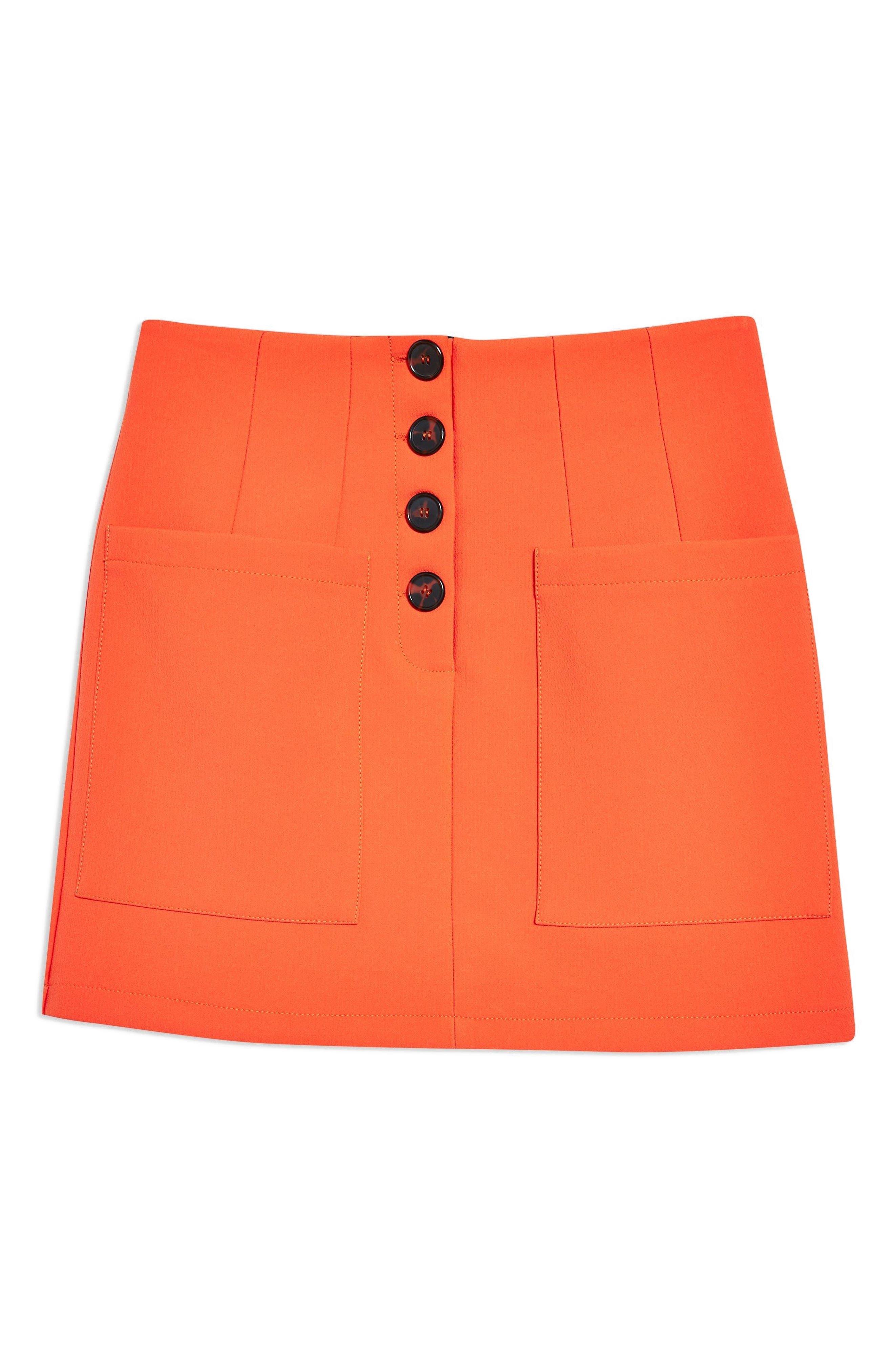 Pocket Button Miniskirt,                             Alternate thumbnail 3, color,                             800