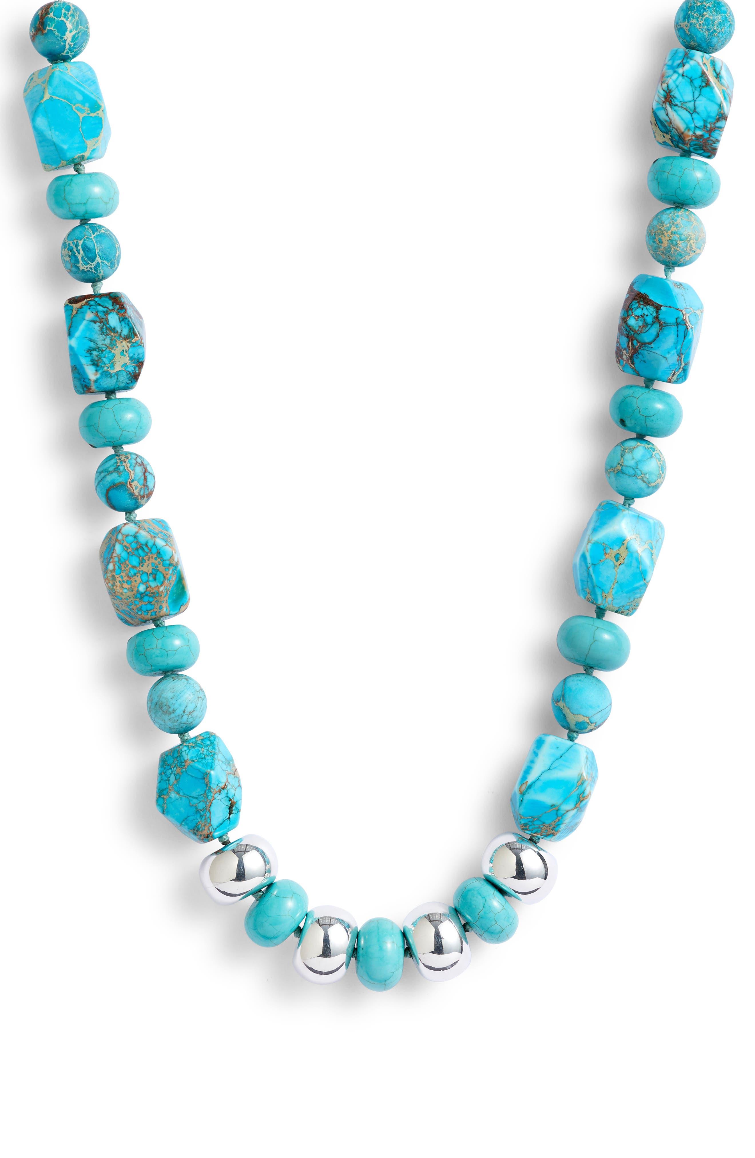 SIMON SEBBAG,                             Multi Shape Stone Bead Necklace,                             Main thumbnail 1, color,                             TURQUOISE MULTI