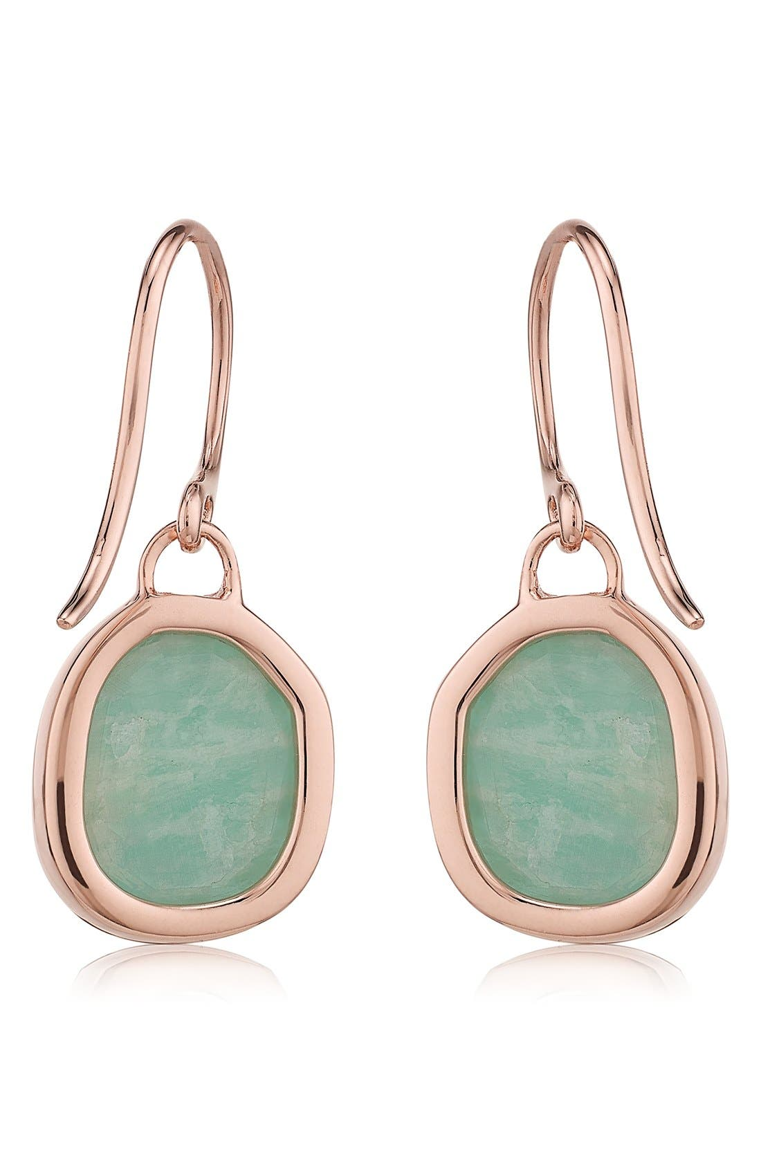 Siren Semiprecious Stone Drop Earrings,                             Alternate thumbnail 5, color,                             AMAZONITE/ ROSE GOLD