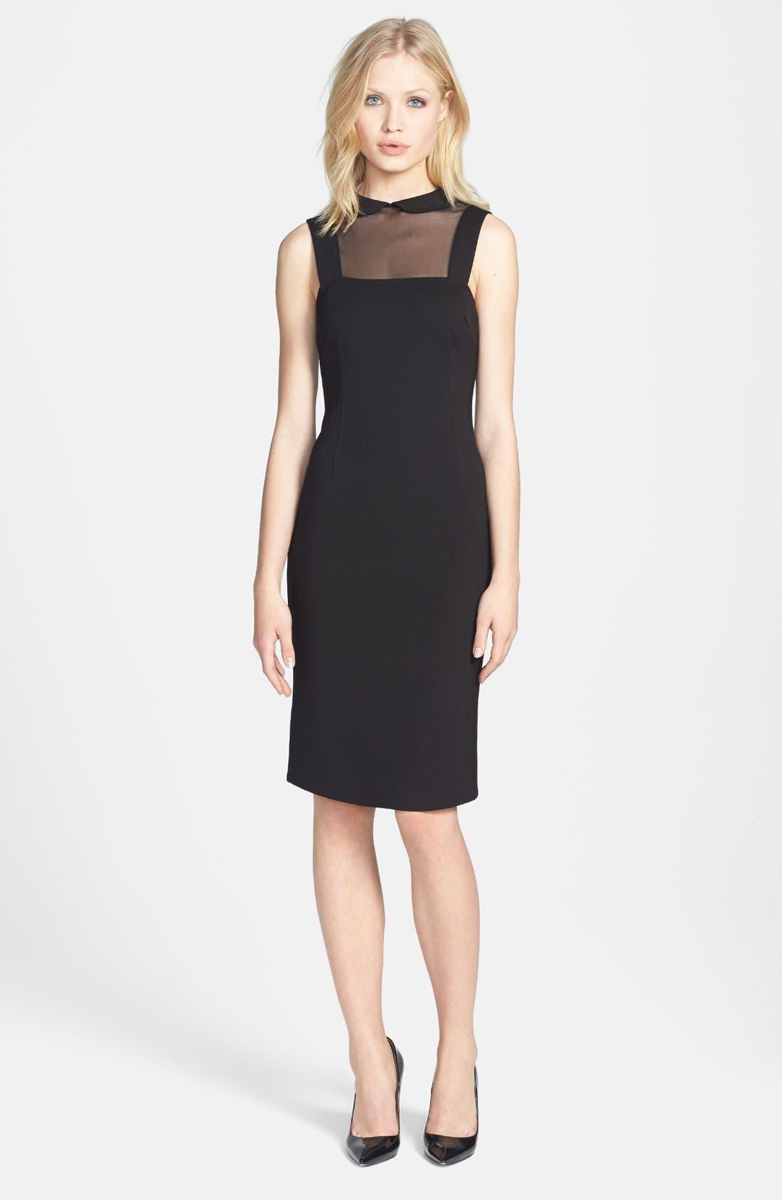 'Rhyannon' Sheer Yoke Ponte Sheath Dress,                         Main,                         color, 001