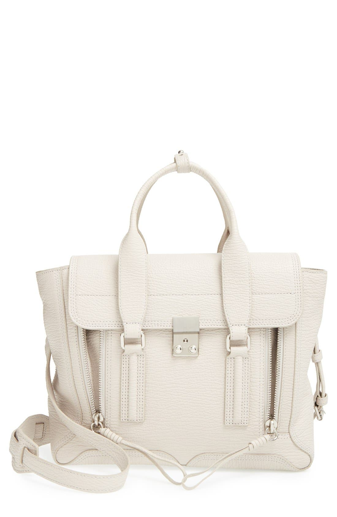 'Medium Pashli' Shark Embossed Leather Satchel, Main, color, 002