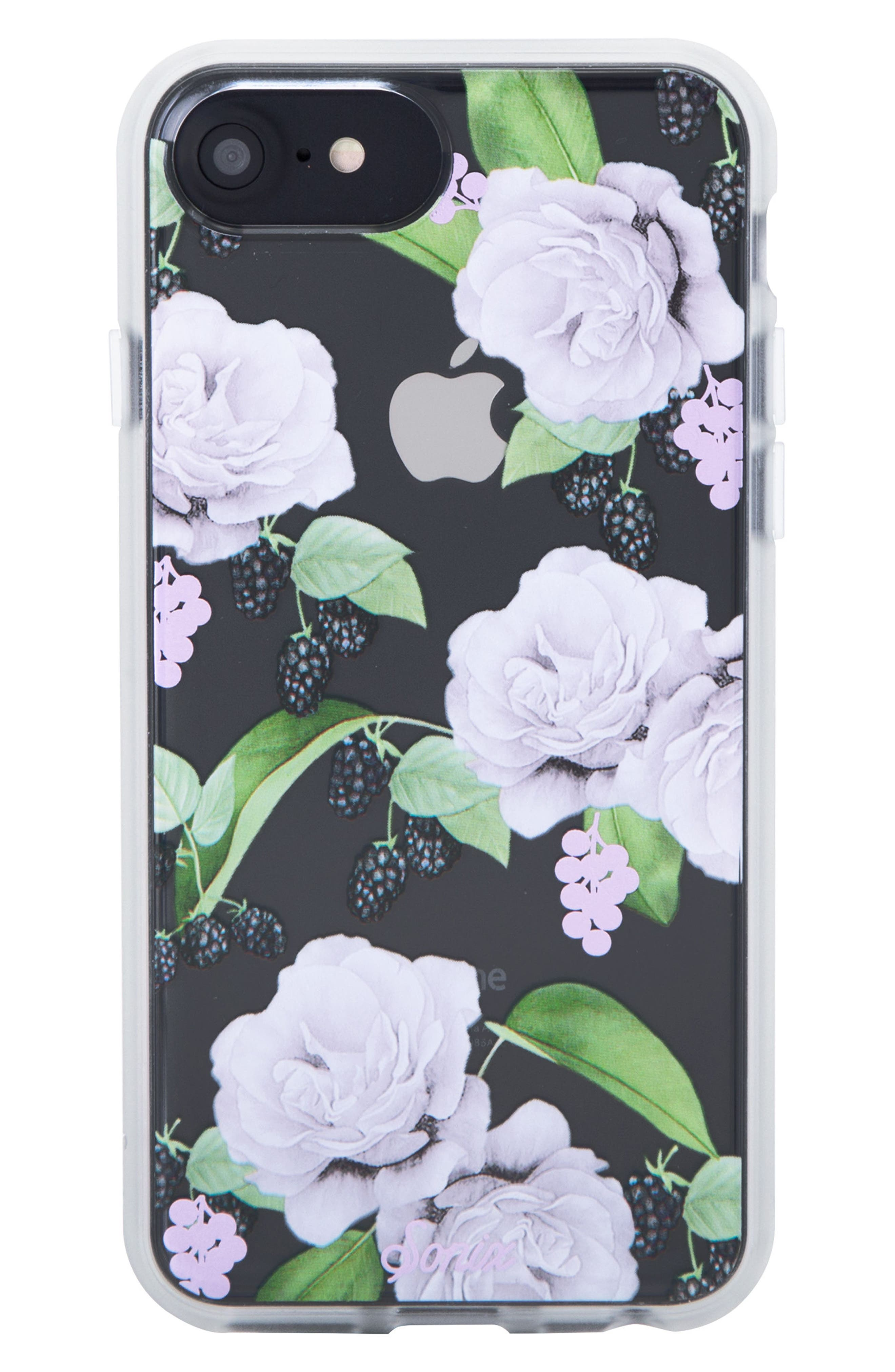 Floral Berry iPhone 6/6s/7/8 & 6/6s/7/8 Plus Case,                             Main thumbnail 1, color,                             WHITE/ LILAC