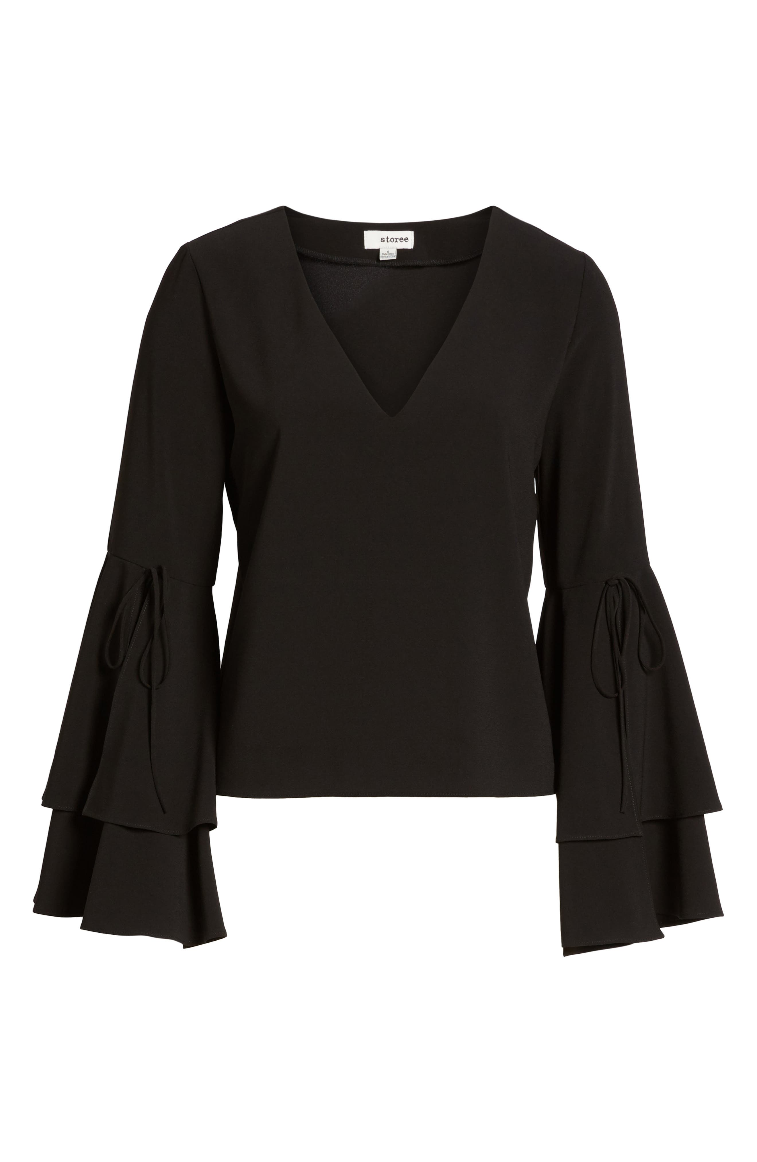 Ruffle Bell Sleeve Top,                             Alternate thumbnail 6, color,                             001