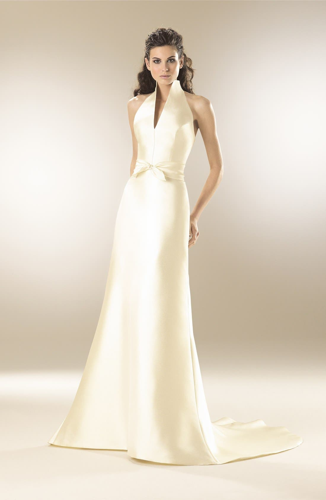 Mikado Satin Halter Fluted Dress,                             Alternate thumbnail 7, color,                             OFF WHITE