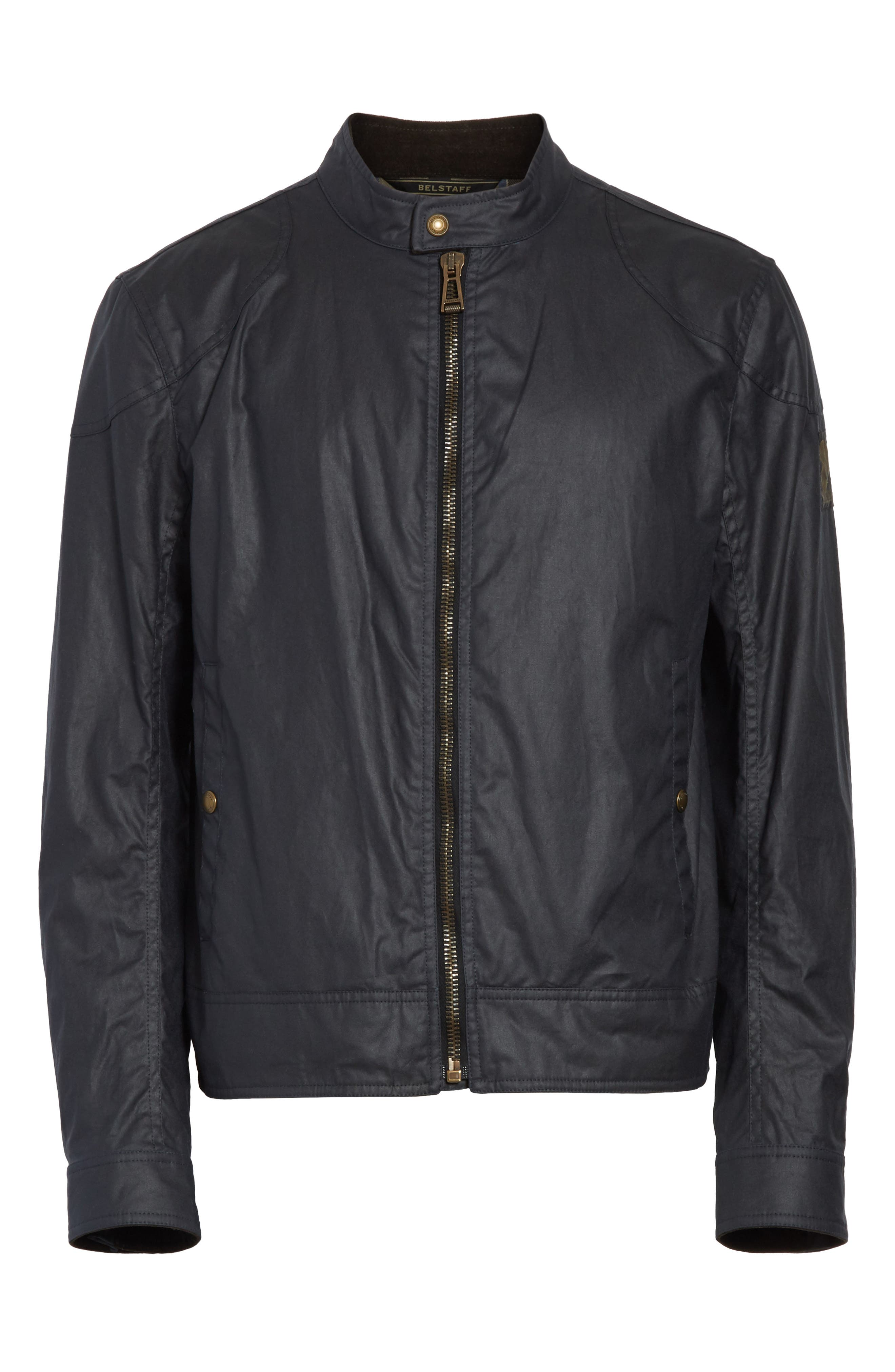 Kelland Coated Cotton Moto Jacket,                             Alternate thumbnail 5, color,                             DARK NAVY