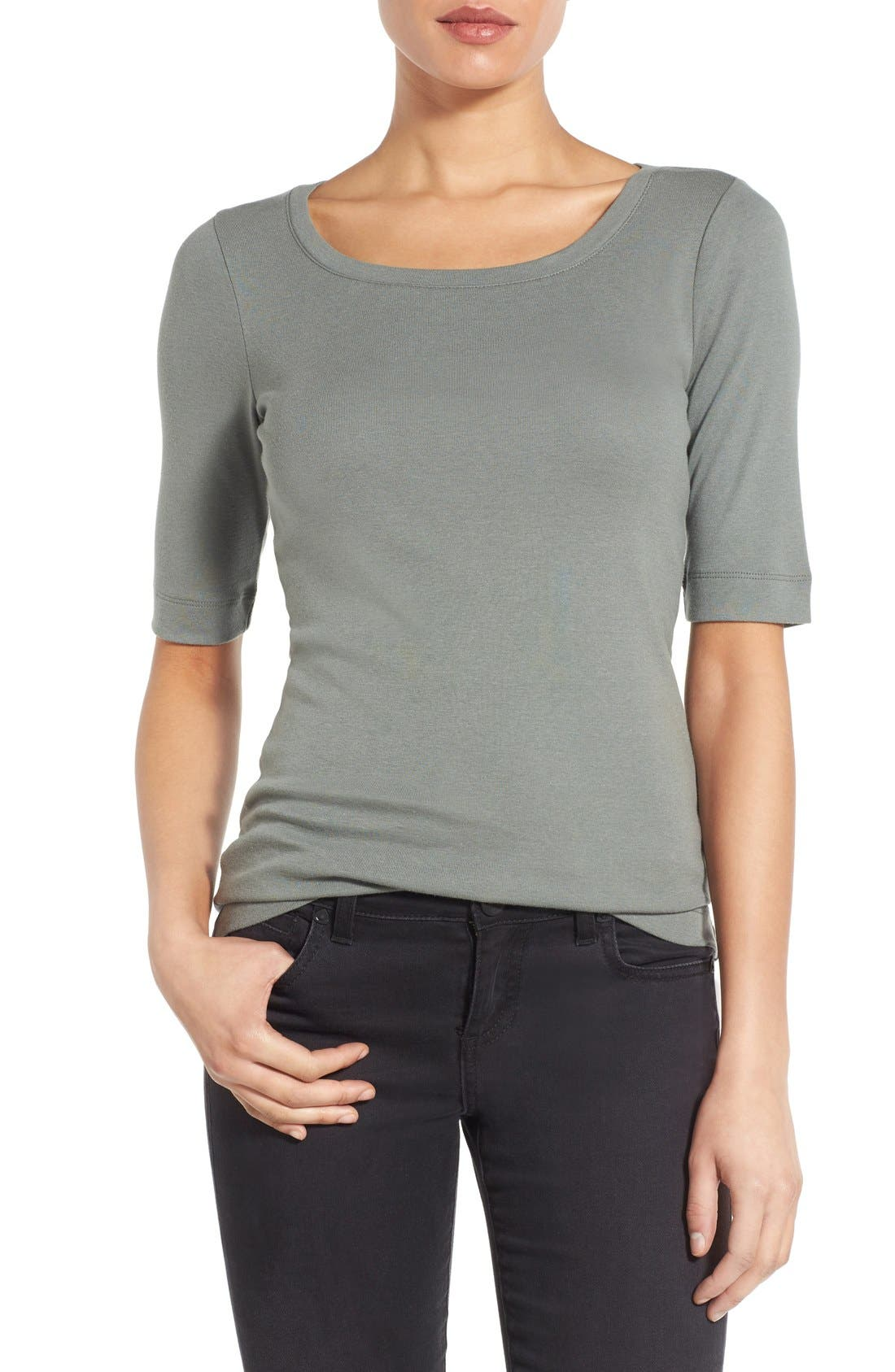 Ballet Neck Cotton & Modal Knit Elbow Sleeve Tee,                             Main thumbnail 16, color,