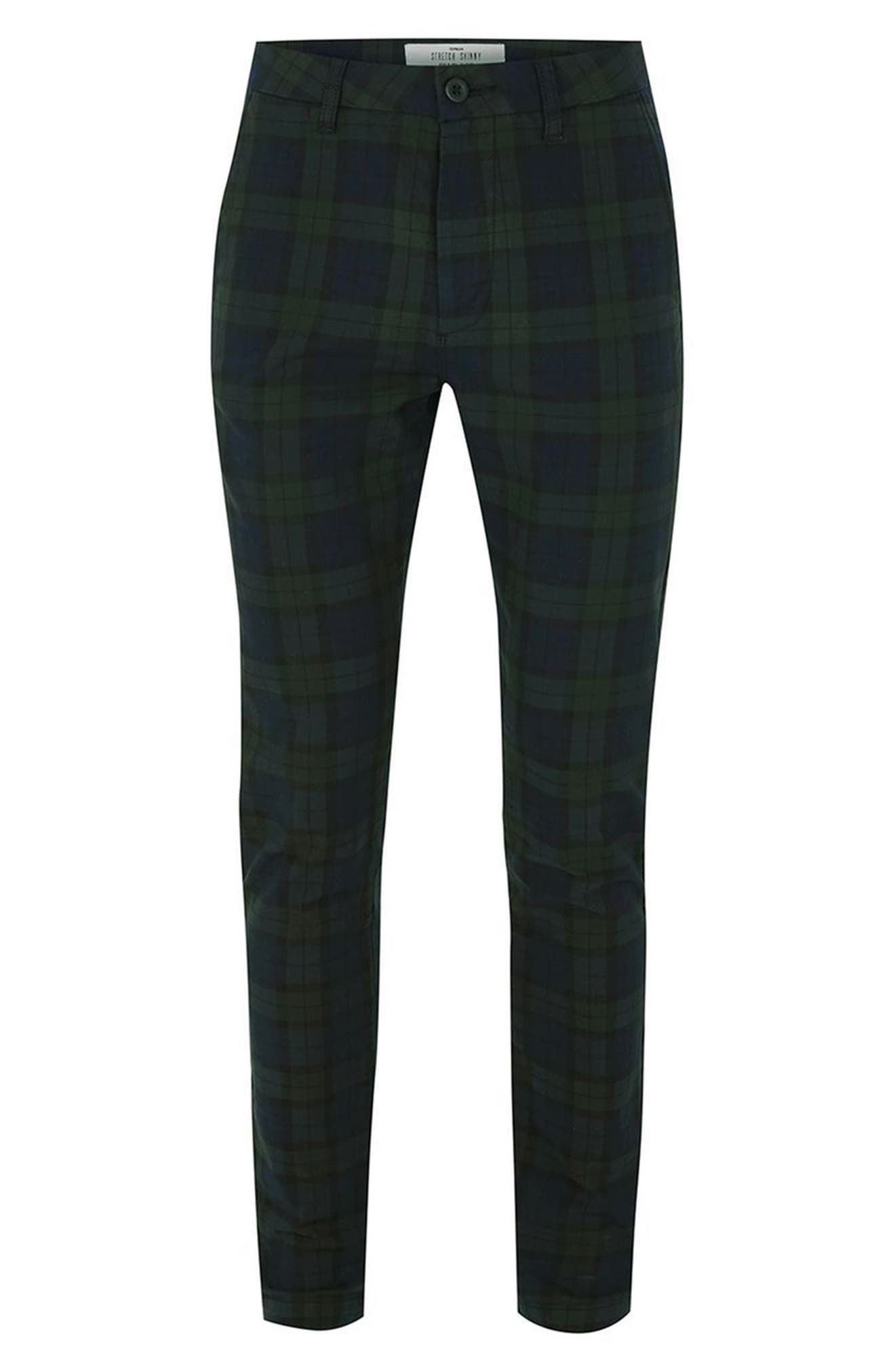 Black Watch Check Stretch Skinny Fit Trousers,                             Alternate thumbnail 4, color,                             340