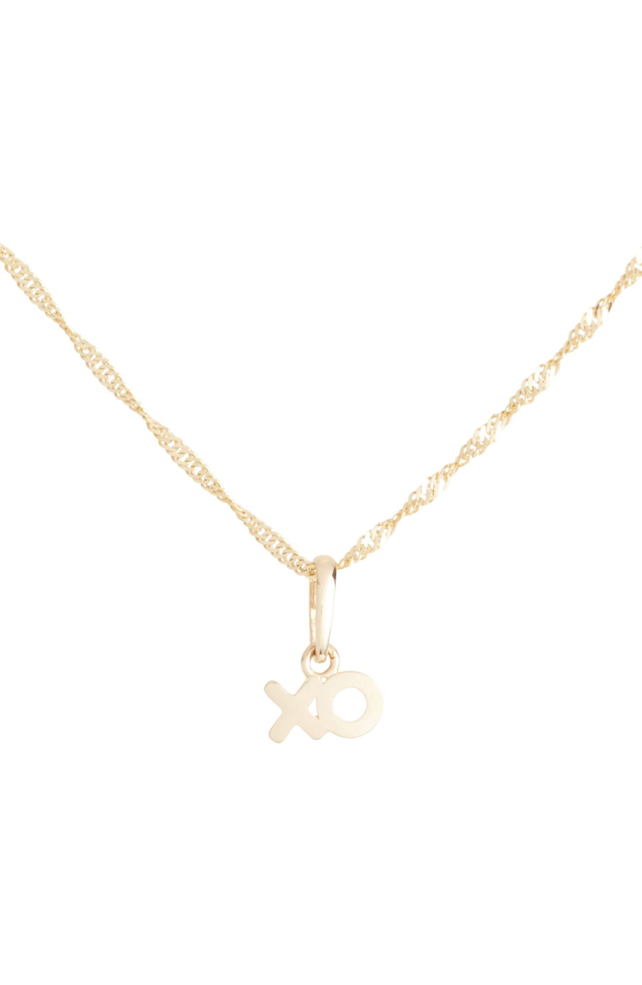 XO Charm Short Pendant Necklace,                             Main thumbnail 1, color,                             YELLOW GOLD