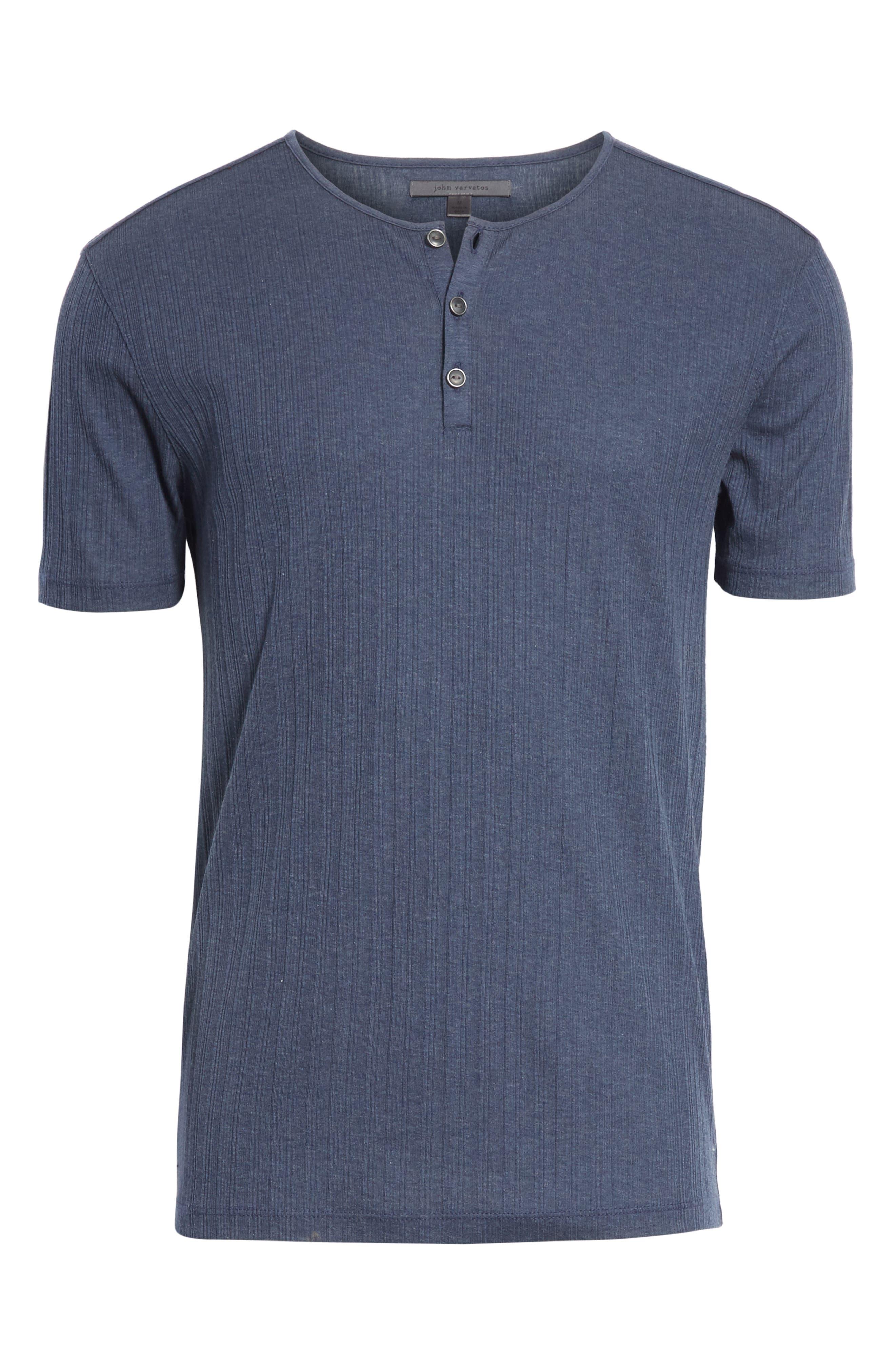 Rib Henley T-Shirt,                             Alternate thumbnail 6, color,                             ATLANTIC BLUE