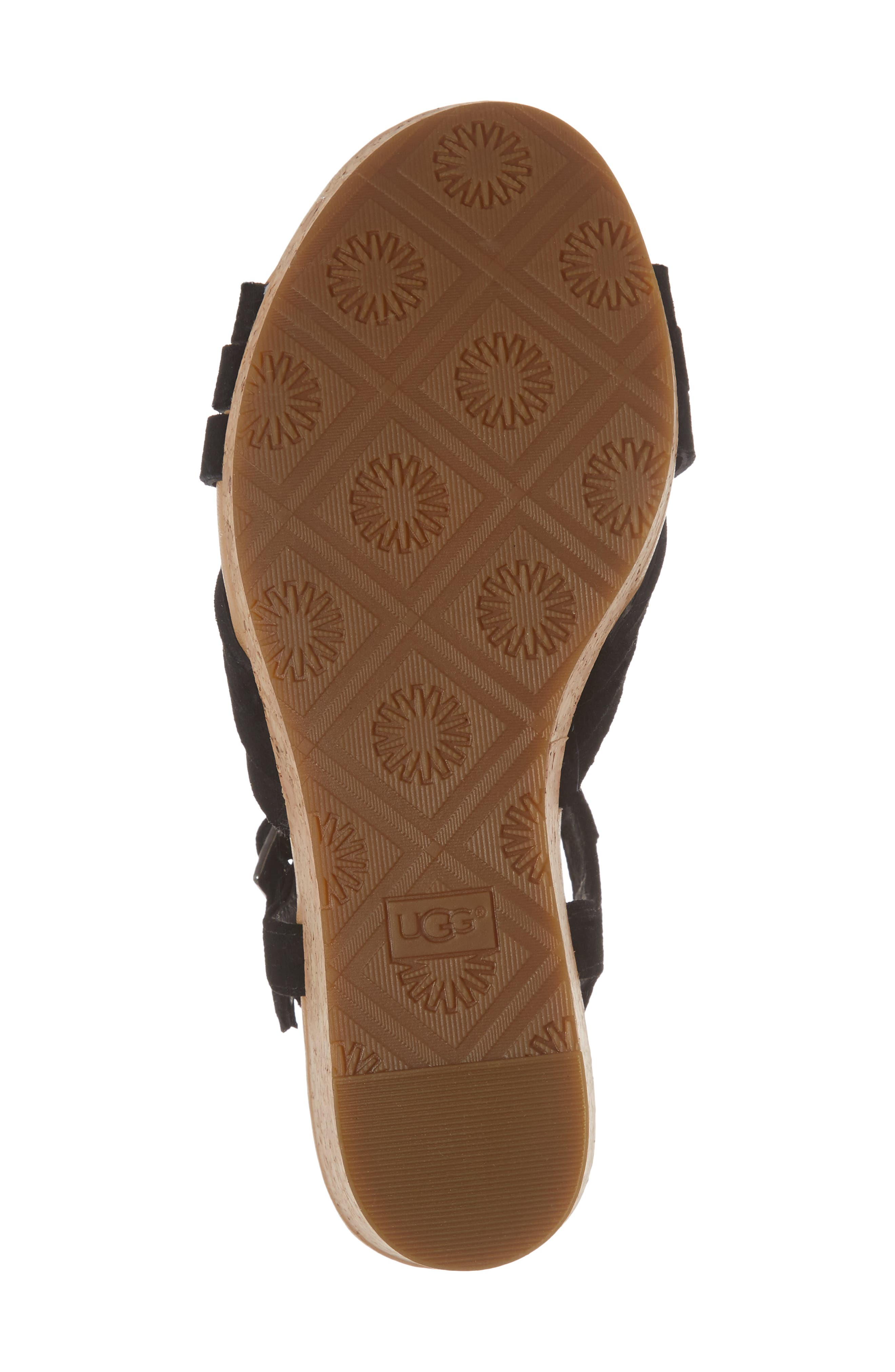 Uma Wedge Sandal,                             Alternate thumbnail 6, color,                             BLACK SUEDE