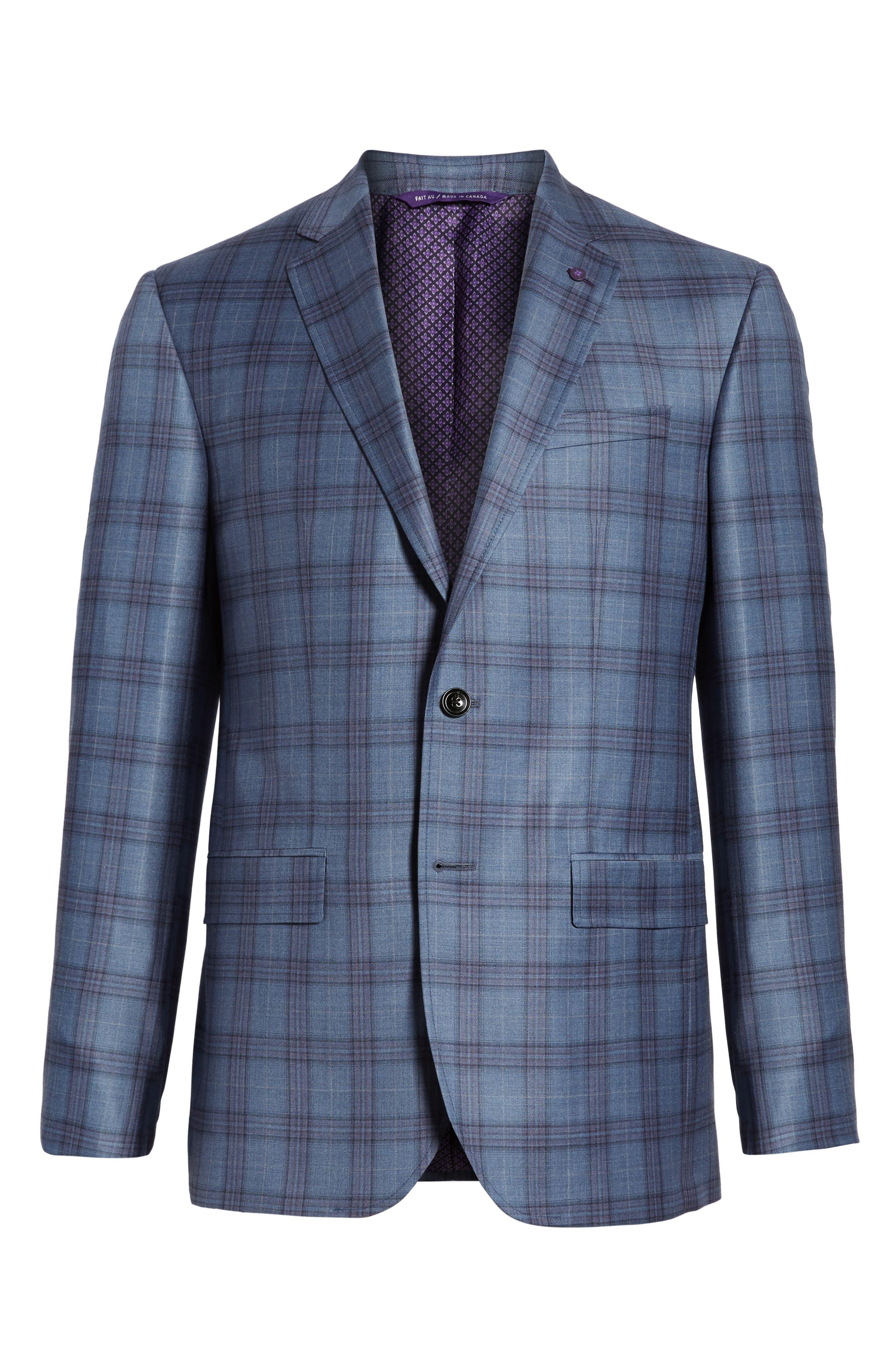 Jay Trim Fit Plaid Wool Sport Coat,                             Alternate thumbnail 5, color,                             400