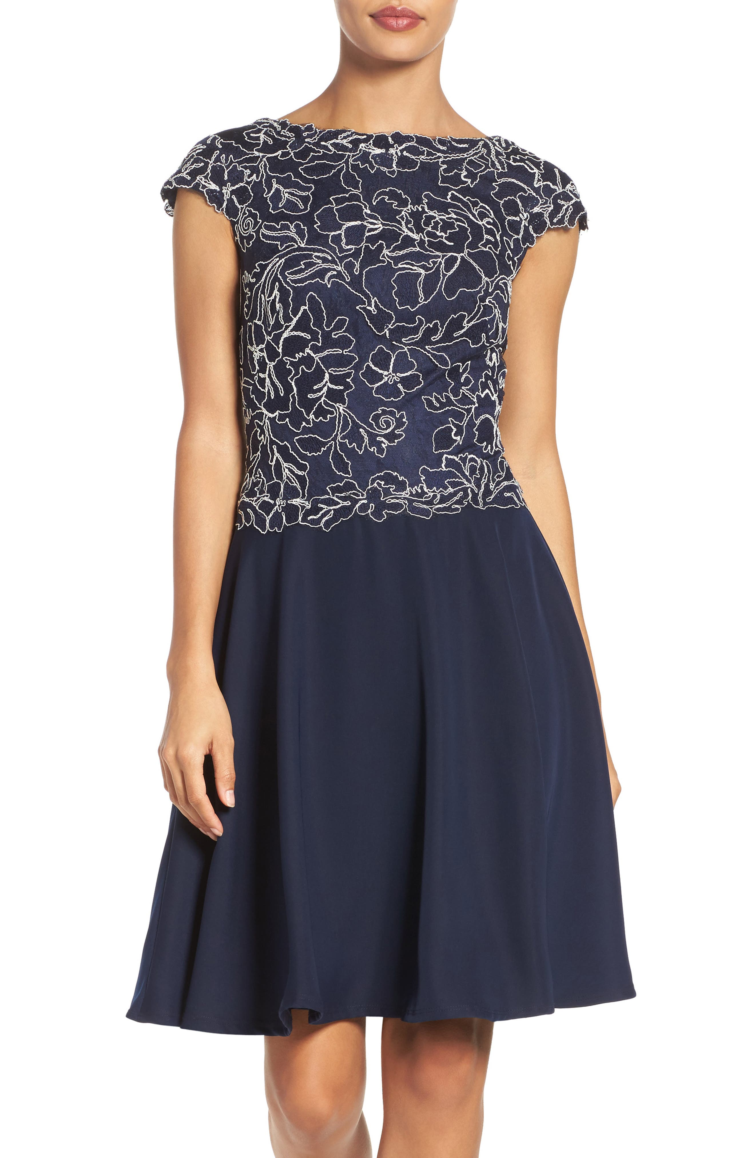 Embroidered Lace Fit & Flare Dress,                             Main thumbnail 3, color,